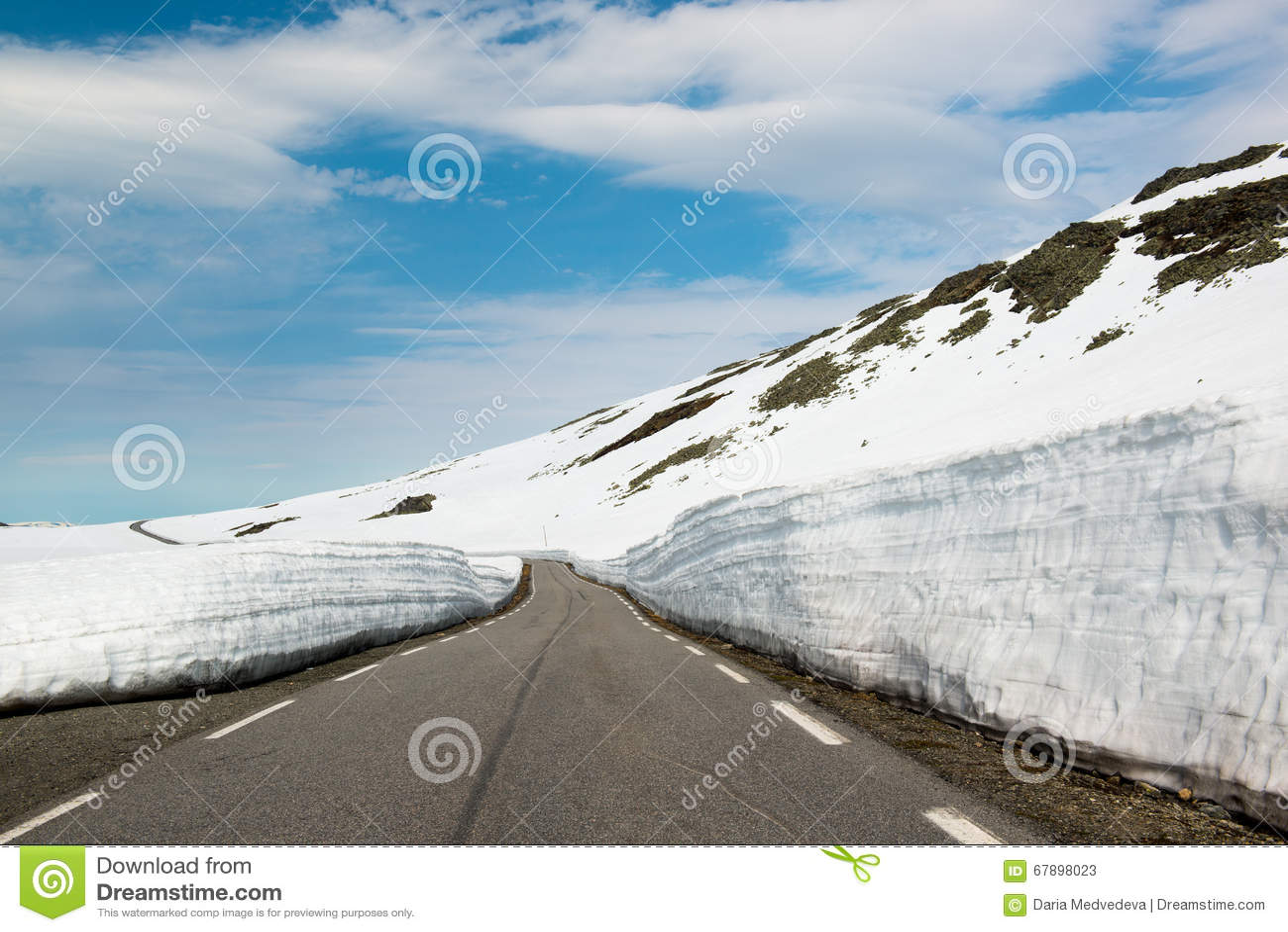 有高的雪水平的在7月,挪威空的沥青山路