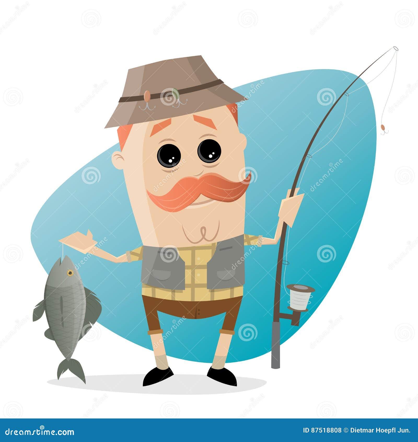 有鱼和钓鱼竿的滑稽的动画片钓鱼者