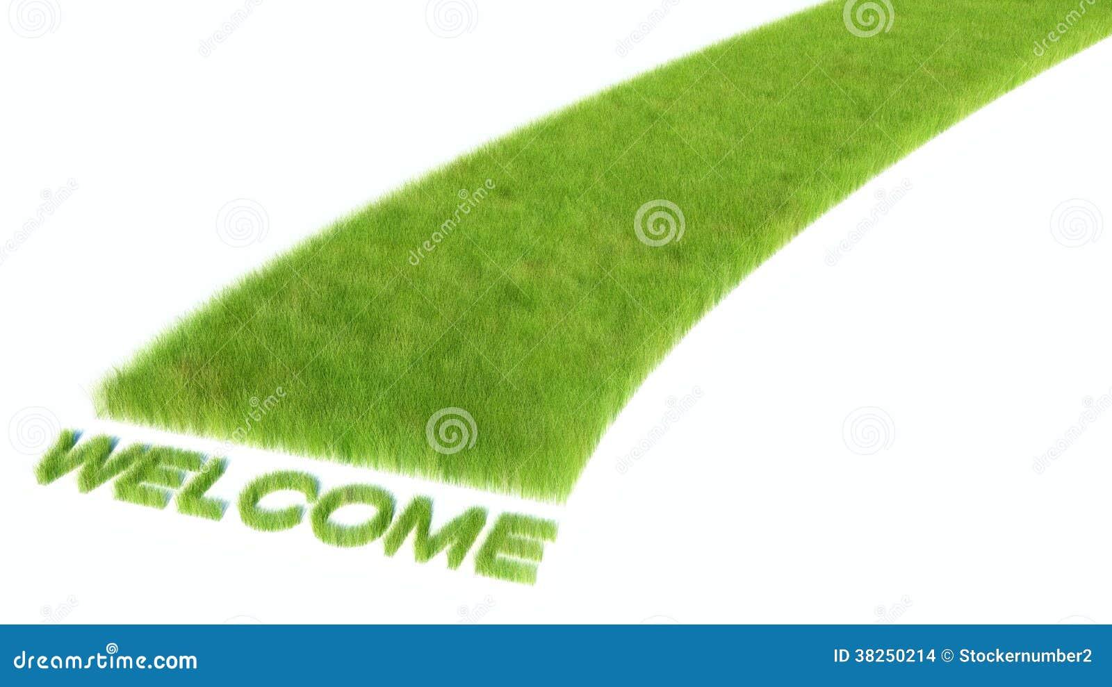 有鲜绿色的草的路。欢迎