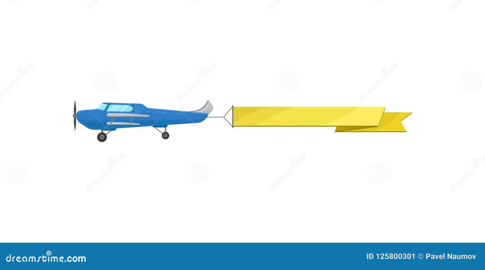 有黄色水平的广告横幅传染媒介例证的蓝色飞行飞机在白色背景