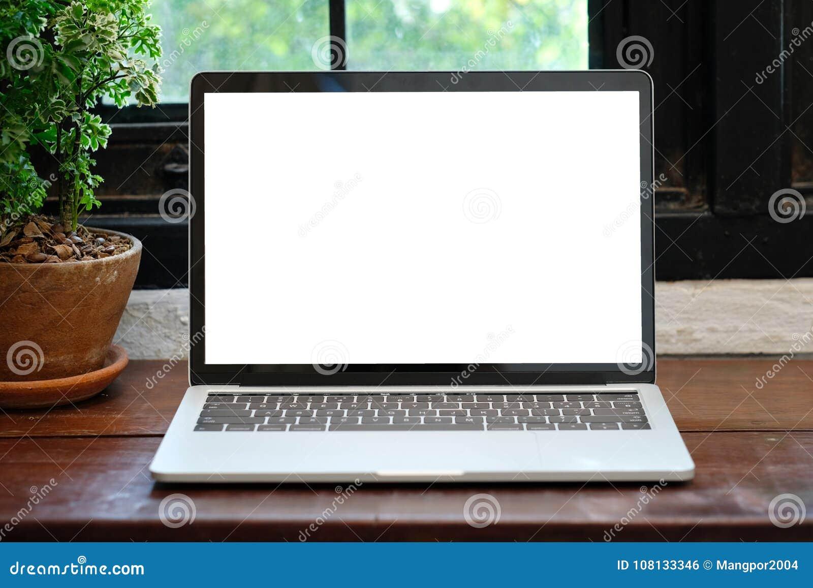 有黑屏的便携式计算机模板backgroun的嘲笑的