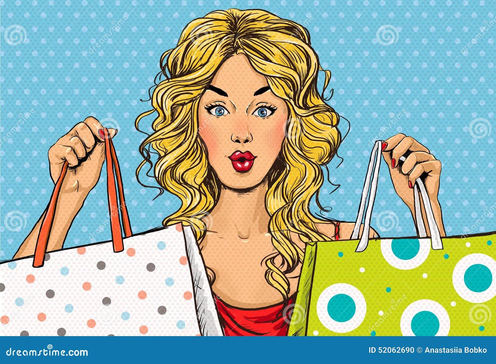 有购物袋的流行艺术白肤金发的妇女在手上 背景看板卡问候页购物模板时间普遍性万维网