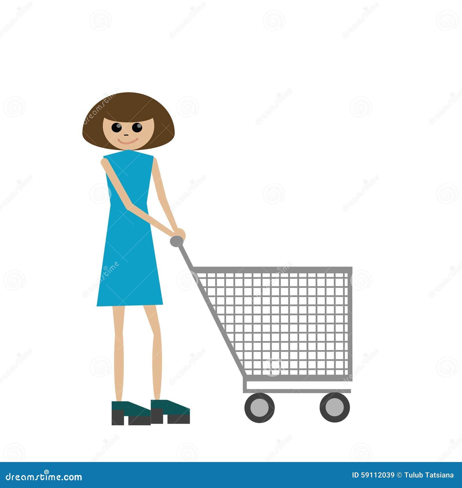 有购物车的妇女