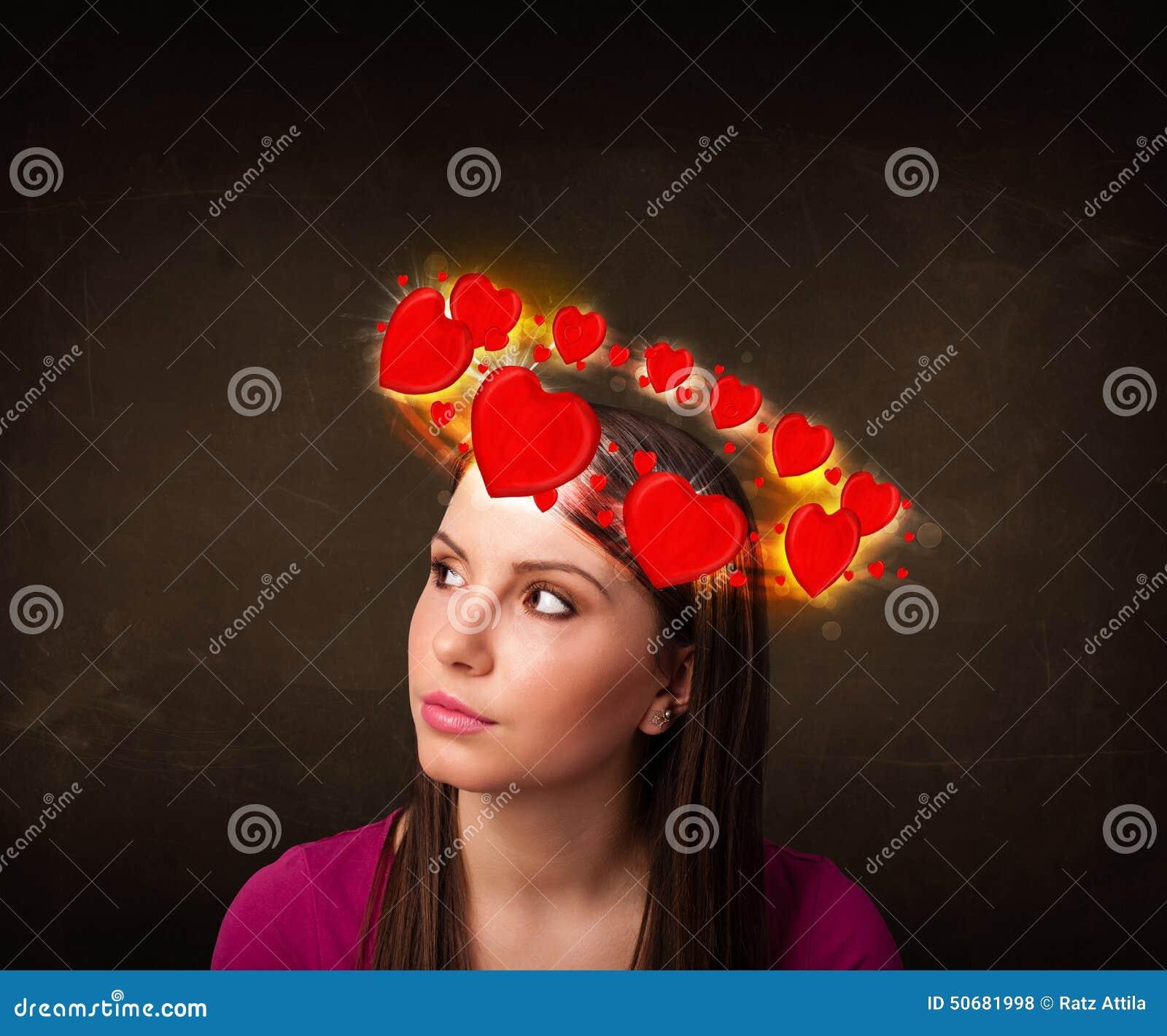 Download 有circleing在她的头附近的心脏例证的少年女孩 库存例证. 插画 包括有 题头, 女性, beauvoir - 50681998