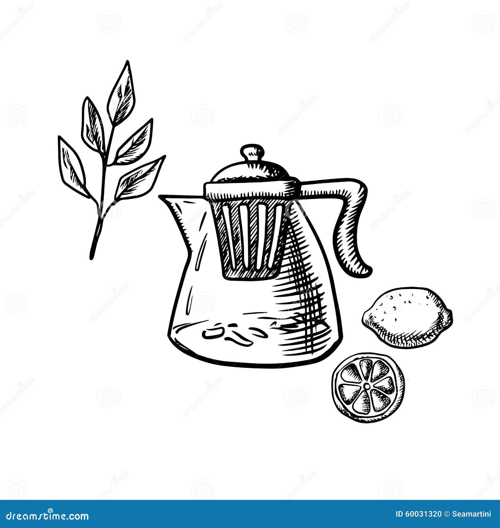 有infuser的茶壶,茶叶和柠檬结果实图片