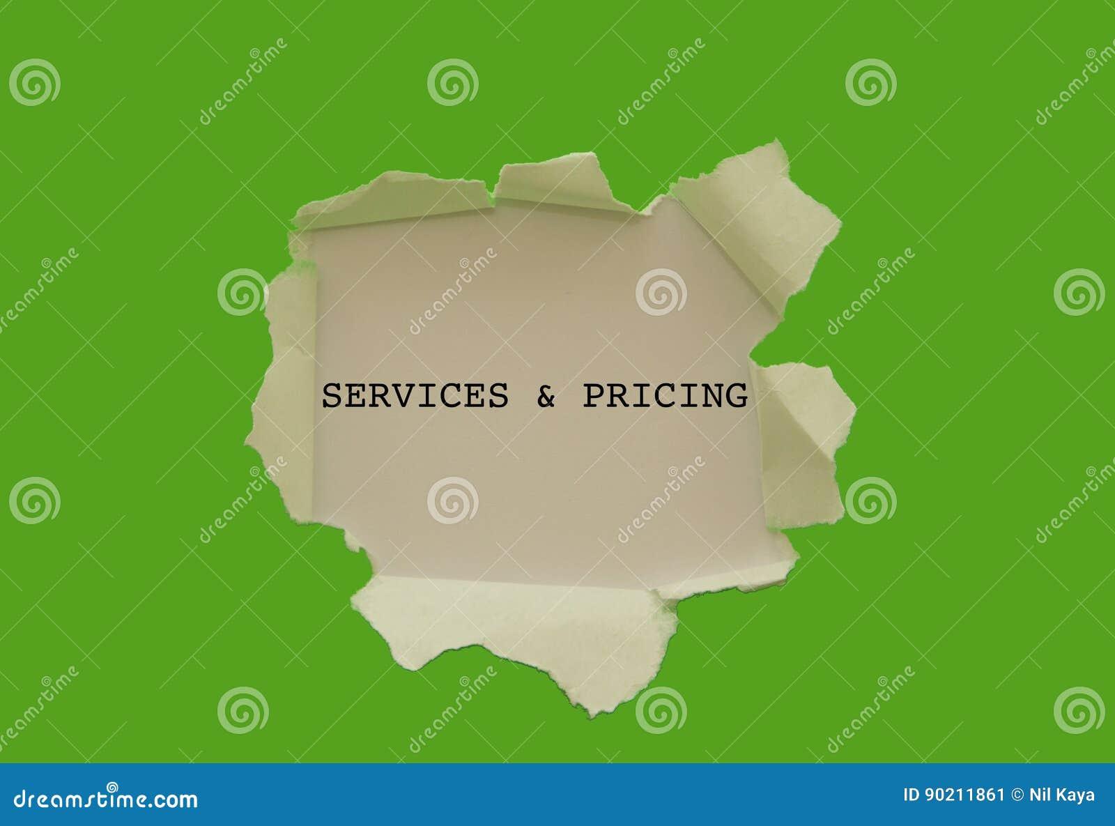 服务和定价被写在被撕毁的纸下