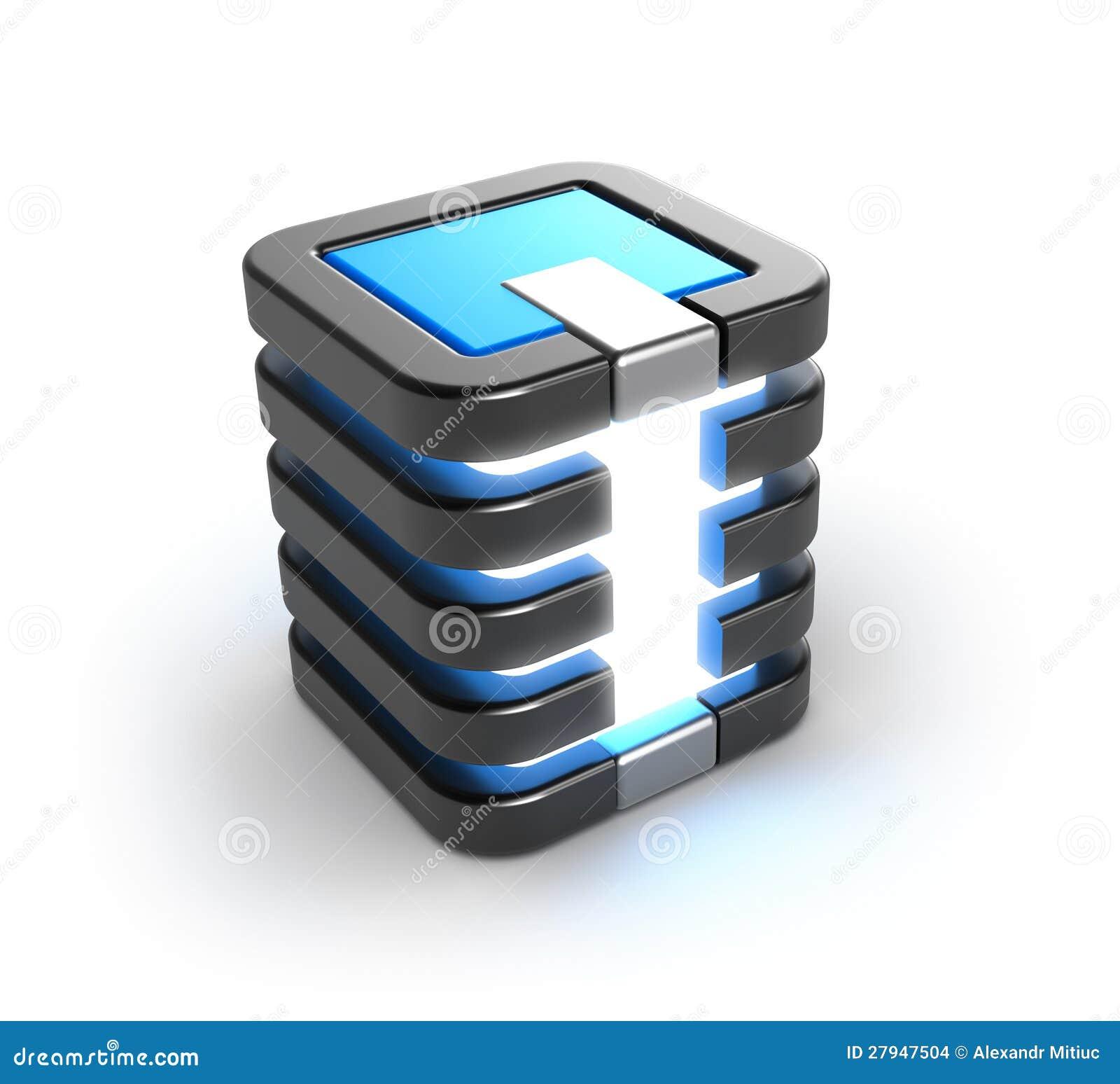 服务器存贮在白色的数据库图标.图片
