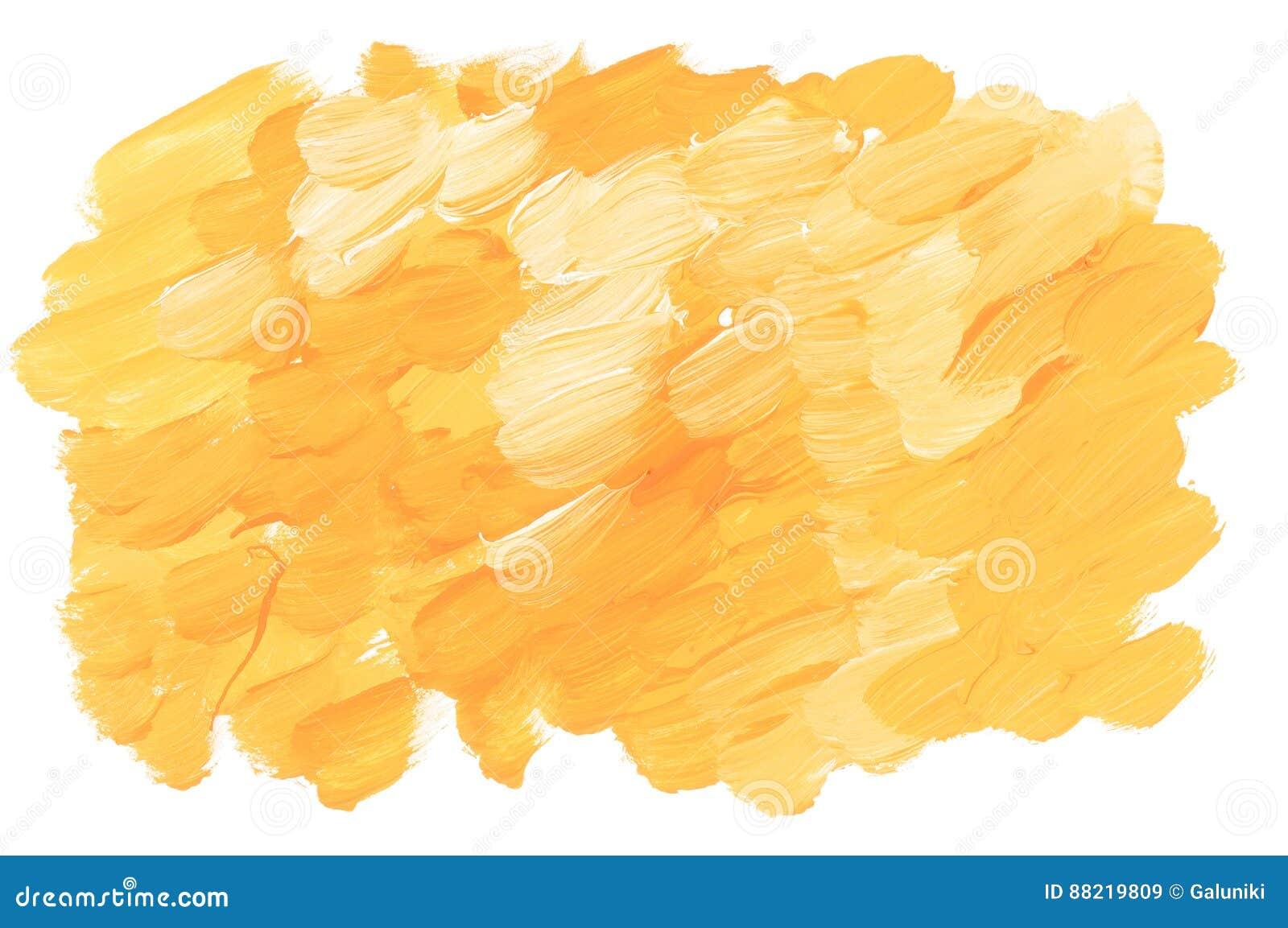晴朗的黄色丙烯酸漆刷子冲程