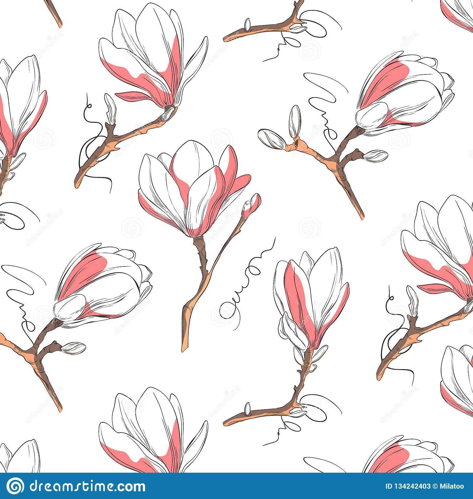 木兰花纹花样 重复与花的植物的纹理在白色背景的蓝色和粉红彩笔 拉长的现有量