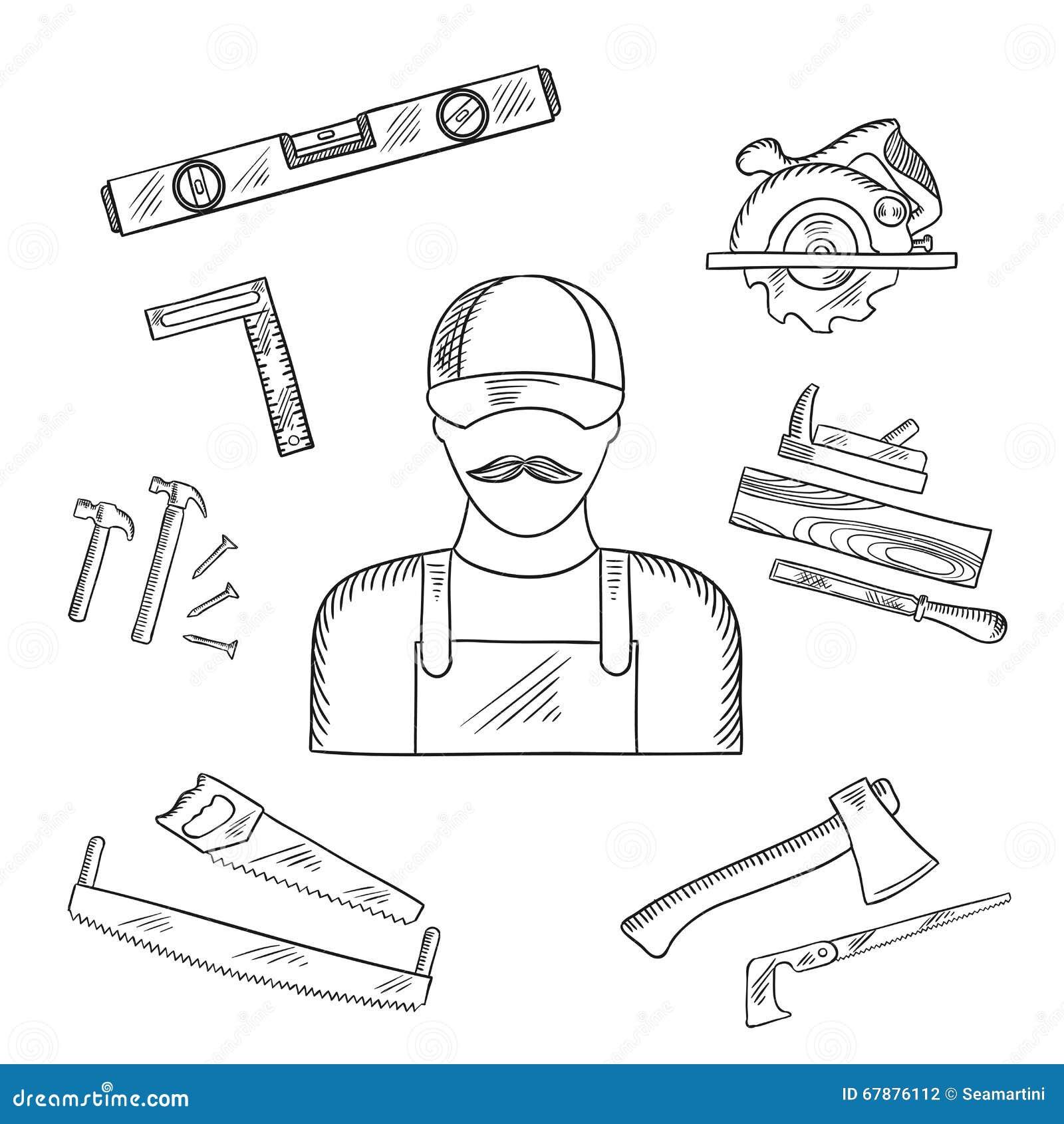 木匠和工具箱工具剪影