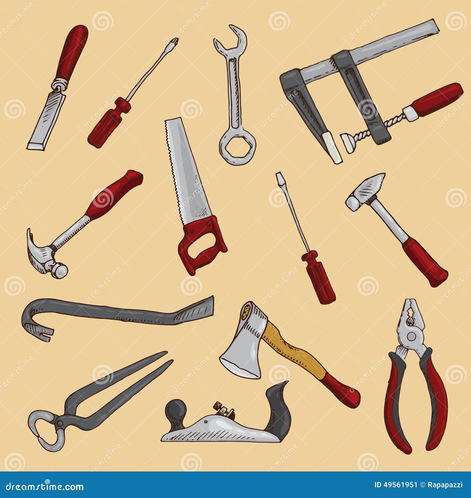 套手拉的木匠工具.图片