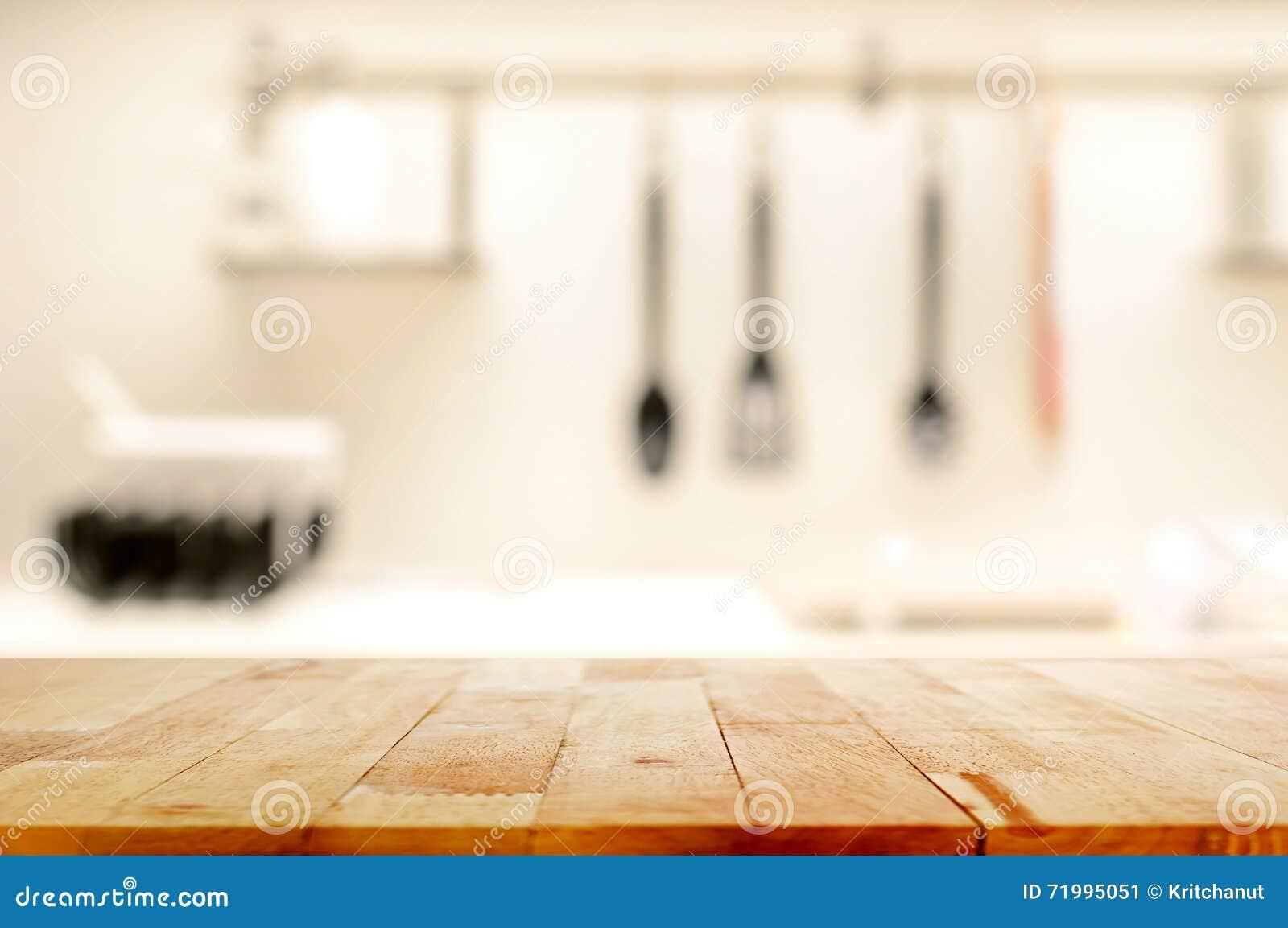 木台式(当厨房)在迷离厨房背景