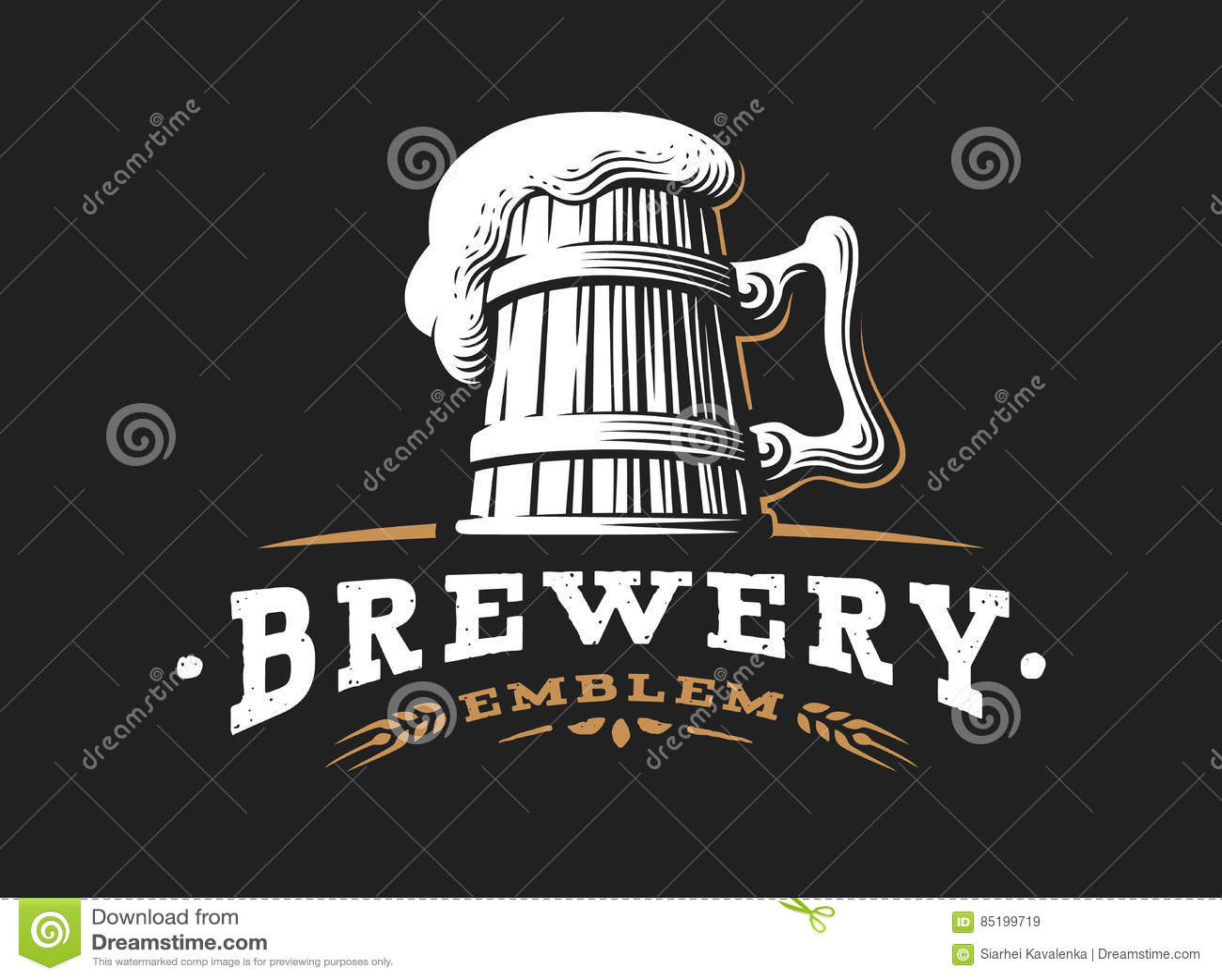 木啤酒杯商标传染媒介例证,啤酒厂设计