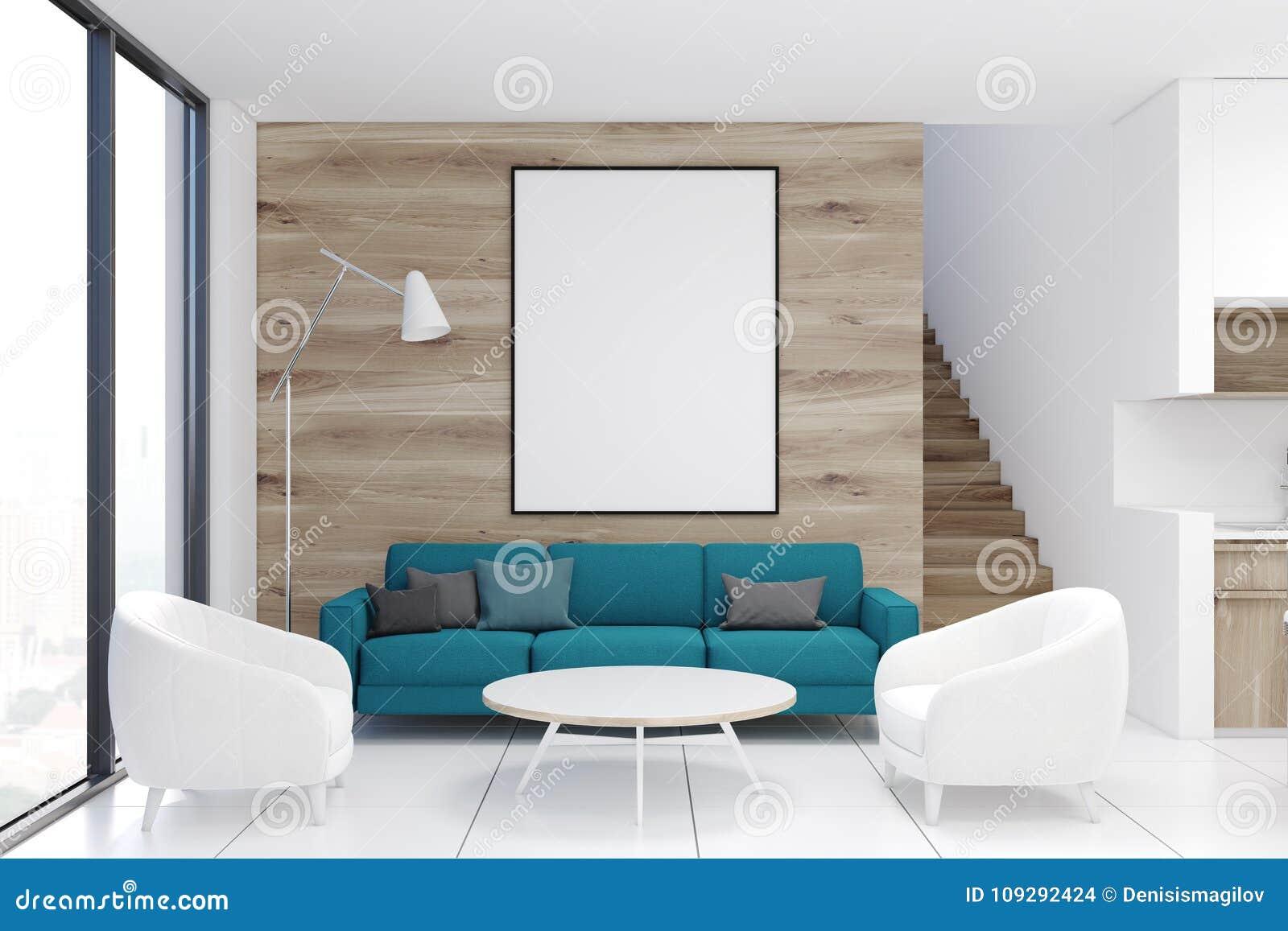 木客厅,蓝色沙发,海报