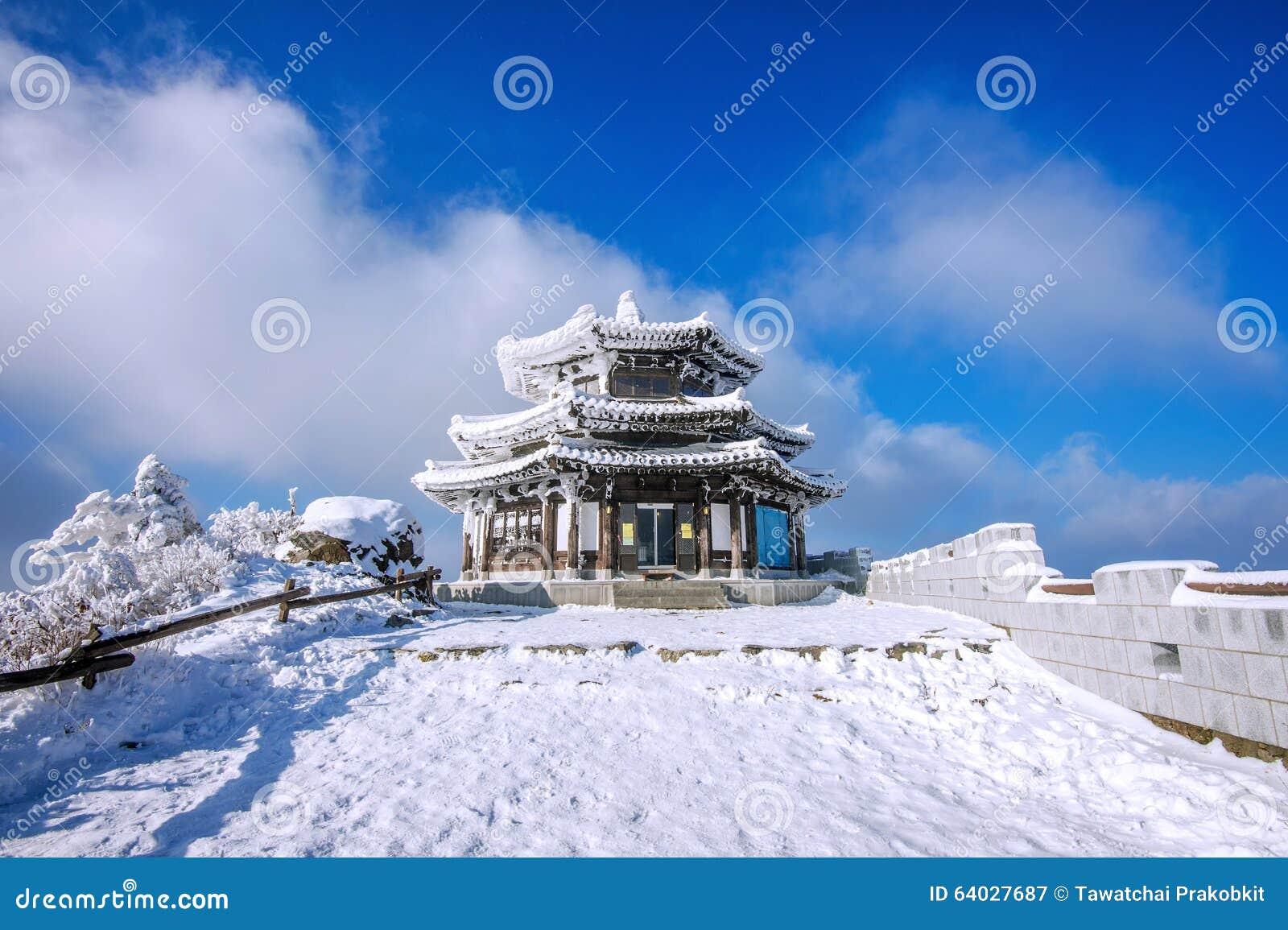 木房子由雪在冬天, Deogyusan山S盖