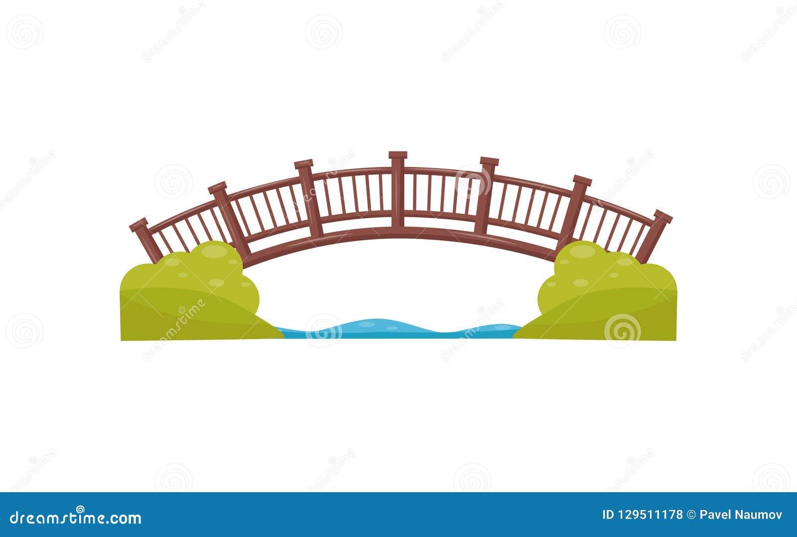 木曲拱的桥梁 横跨河的走道 人行桥由木头制成 城市公园地图的平的传染媒介元素