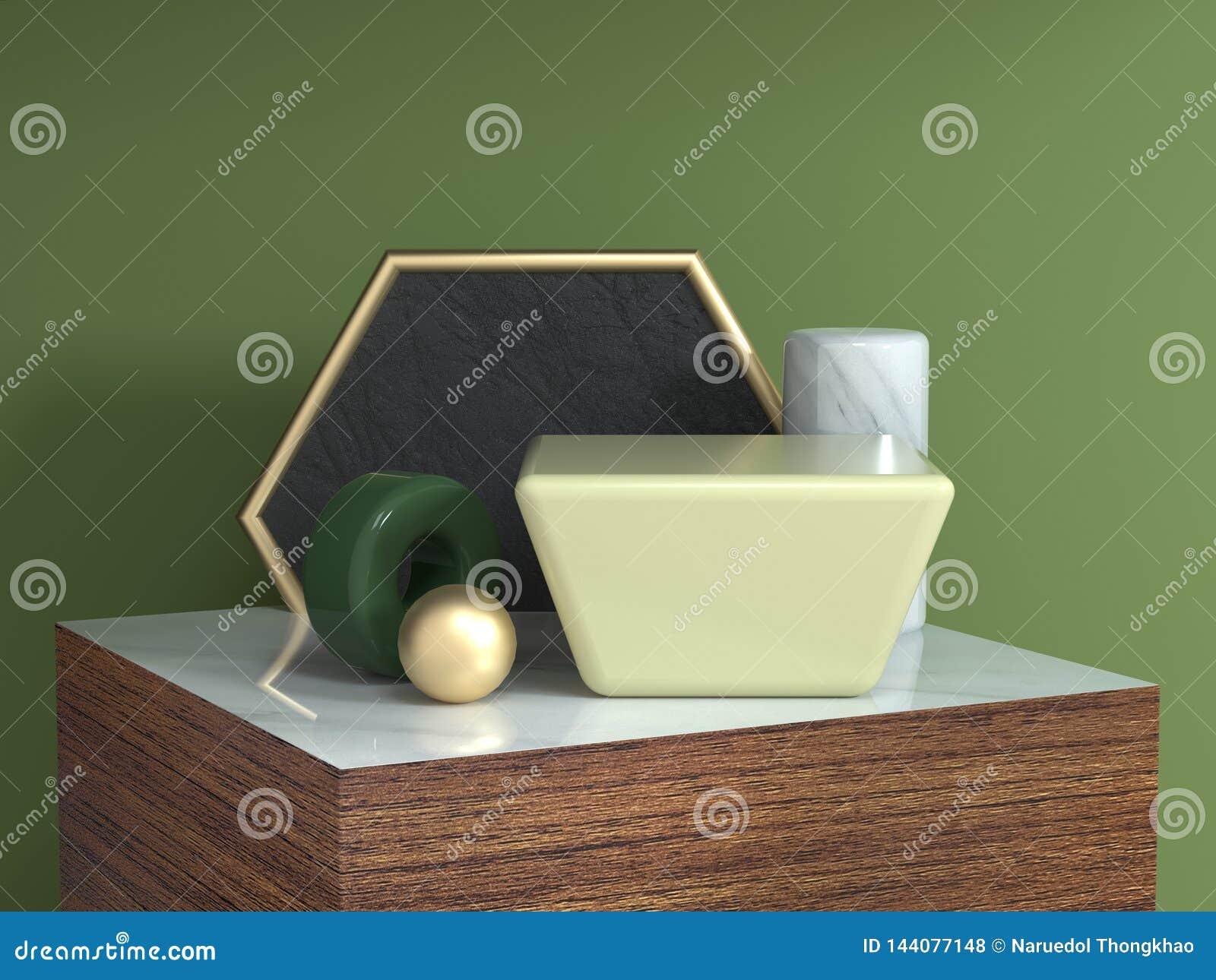 木桌棕色木纹理正方形指挥台摘要几何形状静物画集合3d翻译六角形金框架黄色正方形