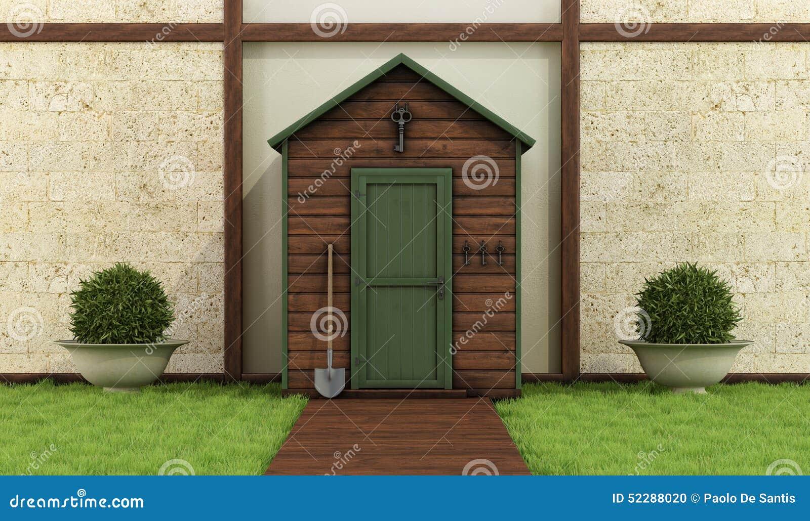 木棚子在一个经典庭院里
