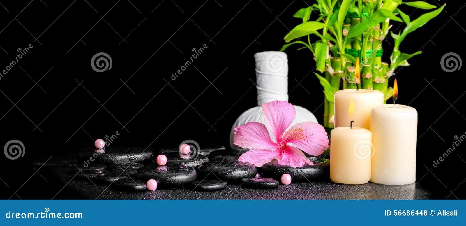 木槿的温泉概念开花,竹子,泰国草本压缩bal