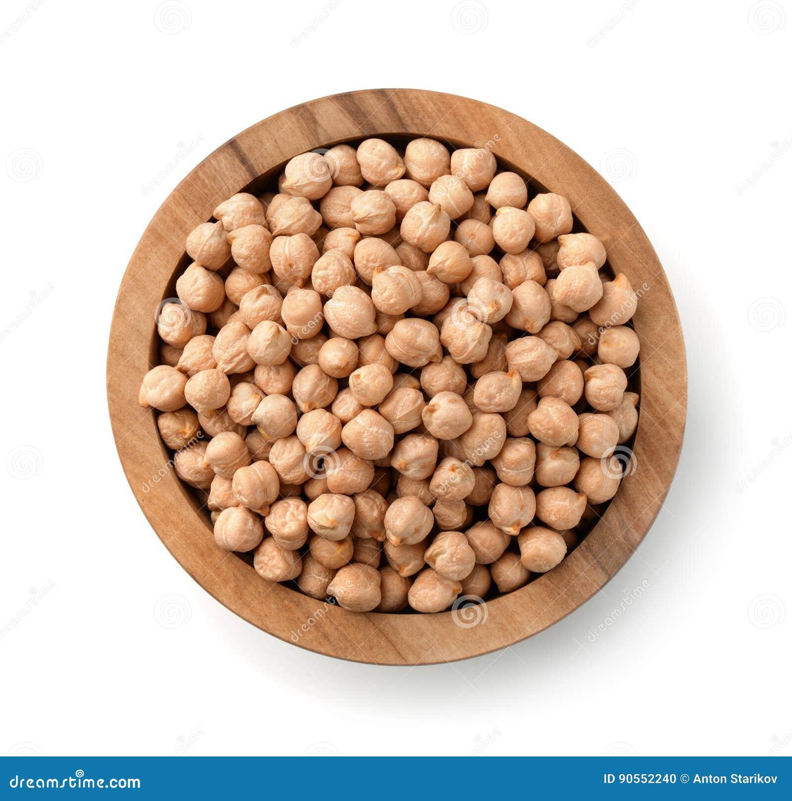 木碗顶视图用鸡豆