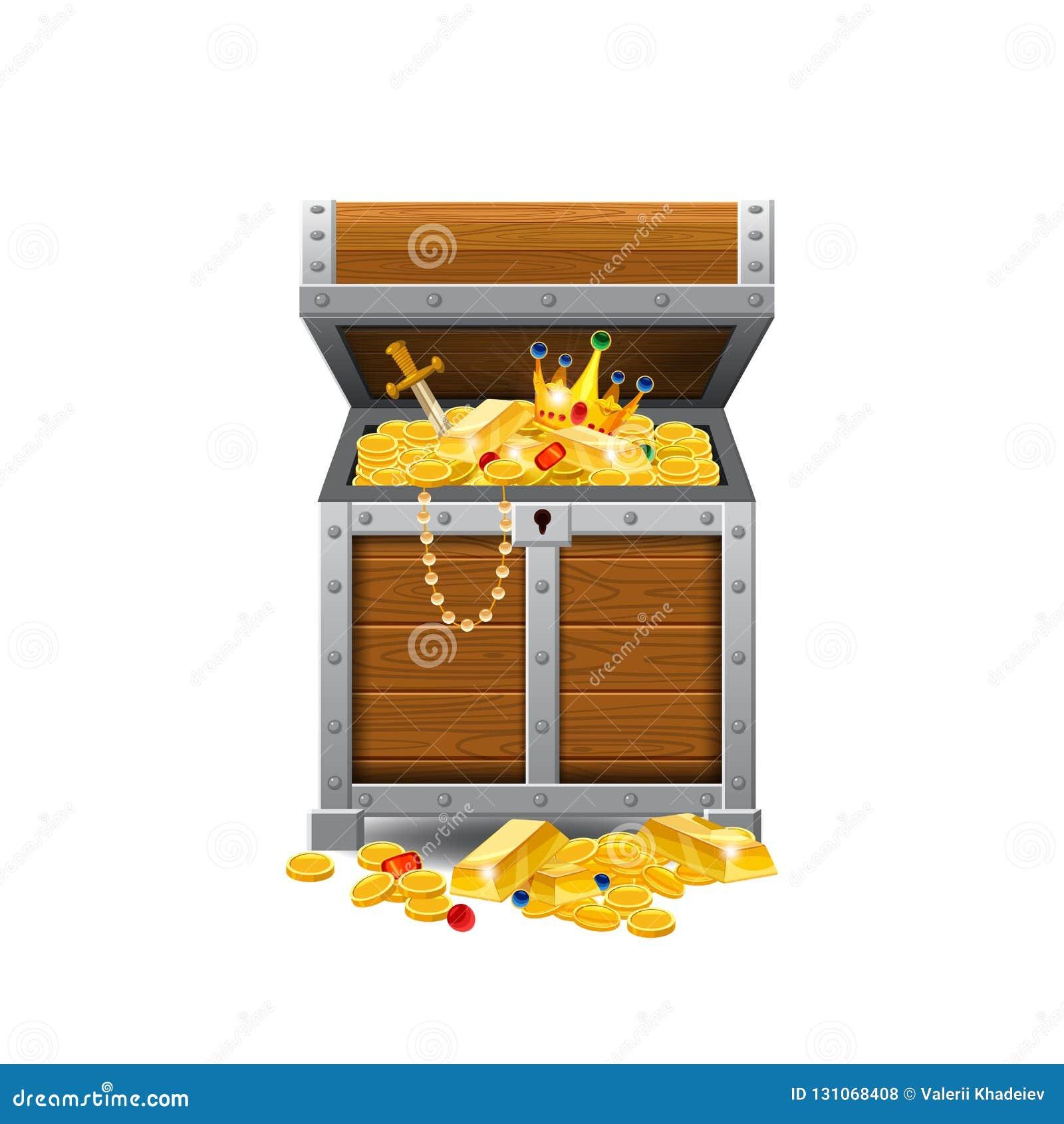 木老海盗胸口,有很多珍宝,金币,珍宝,传染媒介,动画片样式,例证,被隔绝 为