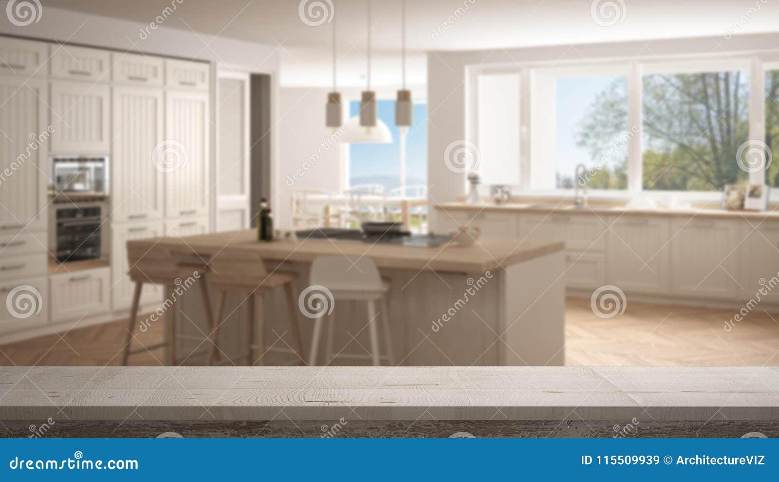木葡萄酒台式或架子特写镜头,禅宗心情,在有大全景窗口的被弄脏的现代斯堪的那维亚厨房,白色弧