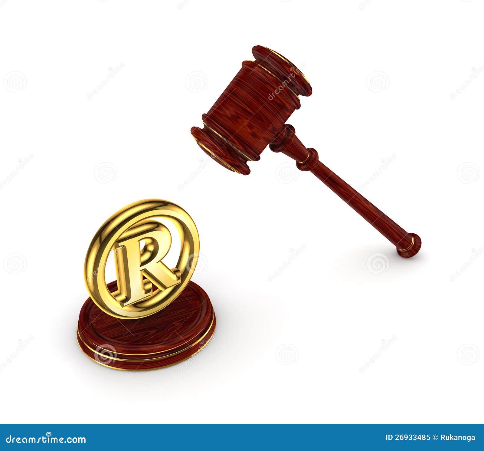 木锤子和版权符号.