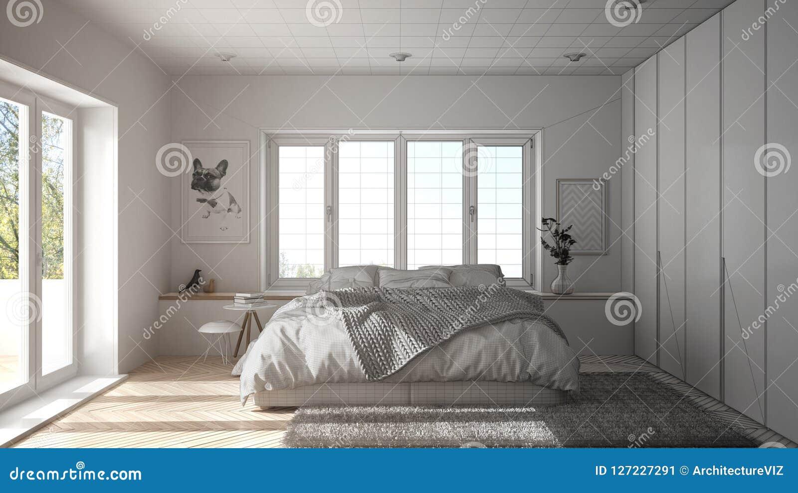 未完成的项目草稿室内设计、斯堪的纳维亚白色和绿色最低纲领派卧室有全景窗口的,毛皮地毯和他
