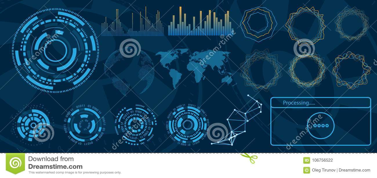 未来派接口Hud设计、Infographic元素、技术和科学,分析题材