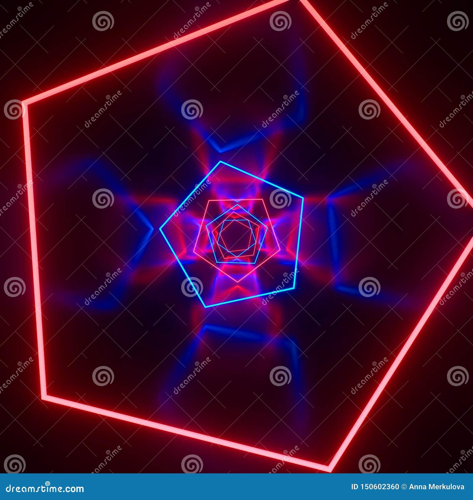 未来派有发光的科学幻想小说具体室霓虹 虚拟现实门户,充满活力的颜色,激光能来源 蓝色,绿色,桃红色