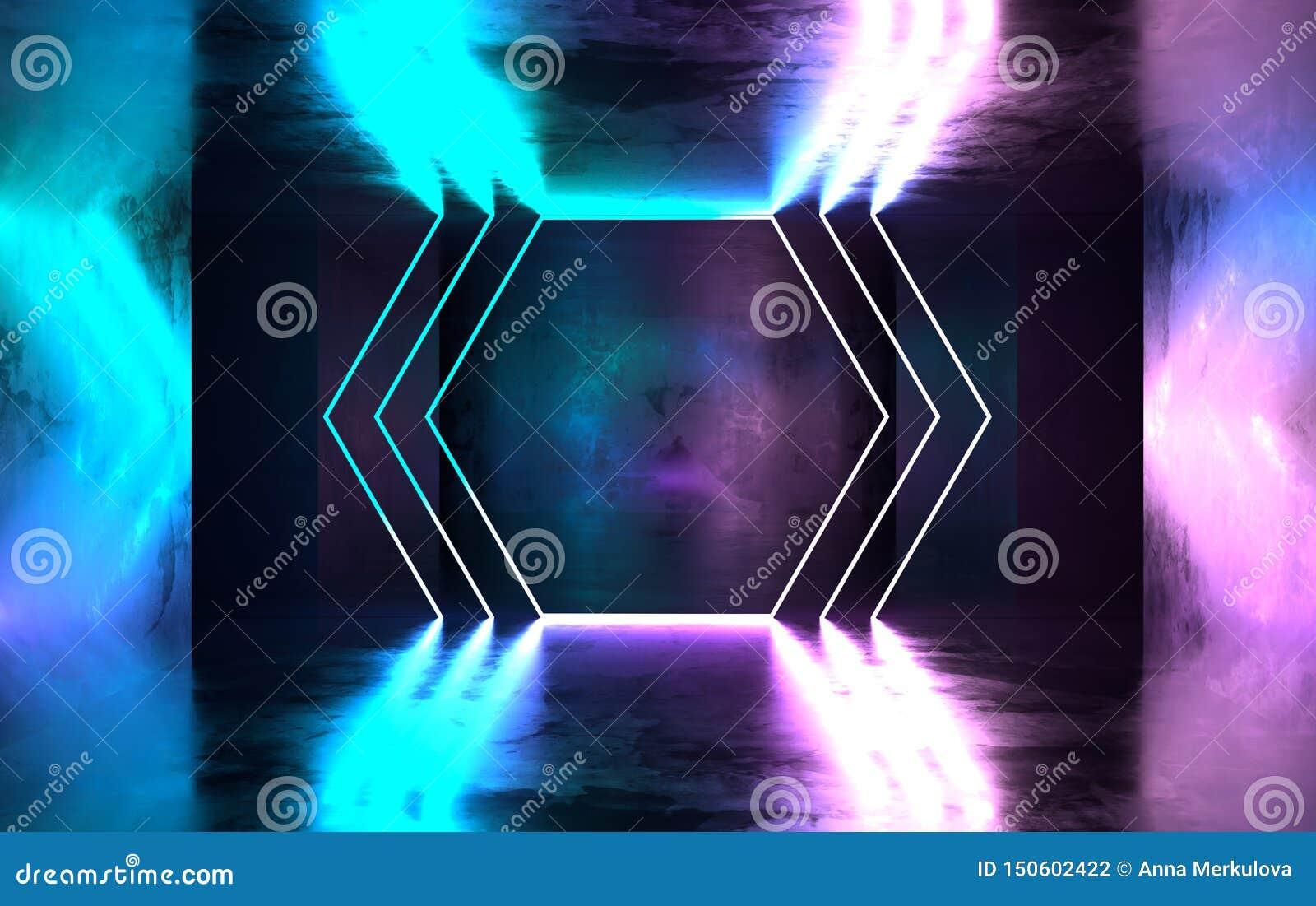 未来派有发光的科学幻想小说具体室霓虹 虚拟现实门户,充满活力的颜色,激光能来源 蓝色和桃红色氖