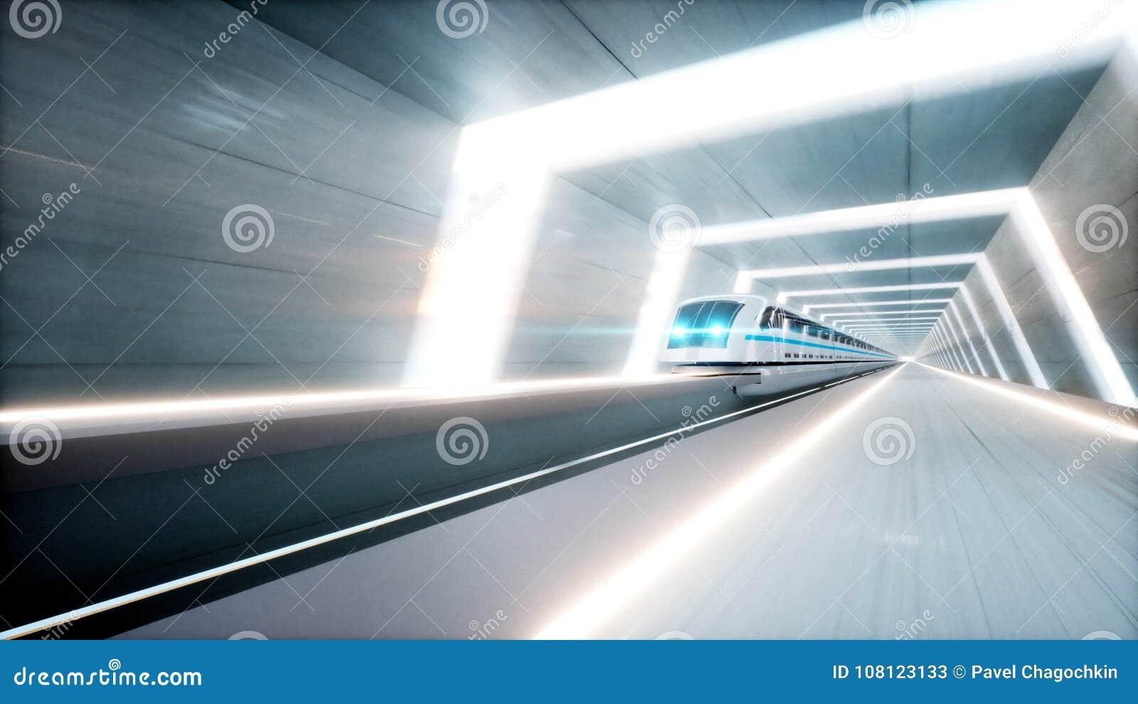 未来派现代火车,单轨铁路车快速驾驶在科学幻想小说隧道, coridor 未来的概念 3d翻译