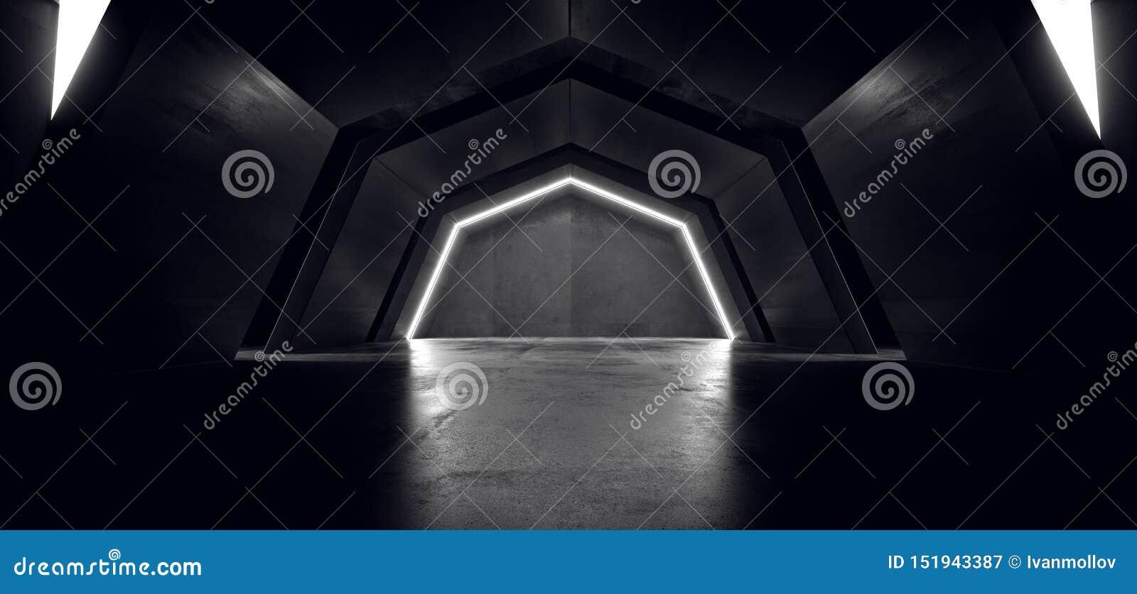 未来派科学幻想小说白色曲拱激光霓虹灯发光的黑暗的难看的东西反射性具体隧道走廊走廊外籍人太空飞船