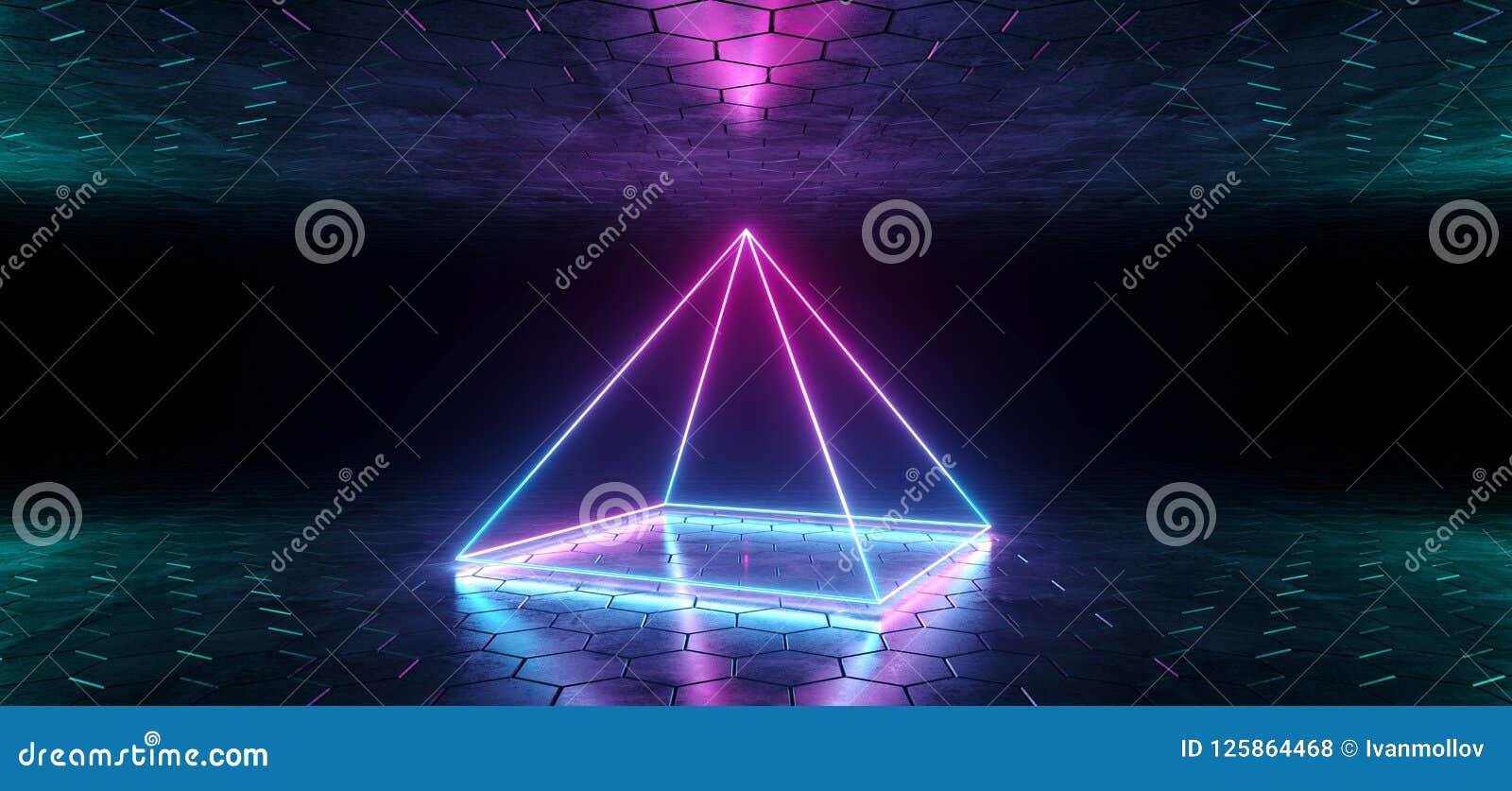 未来派科学幻想小说蓝色紫色发光的氖灯金字塔形状的L