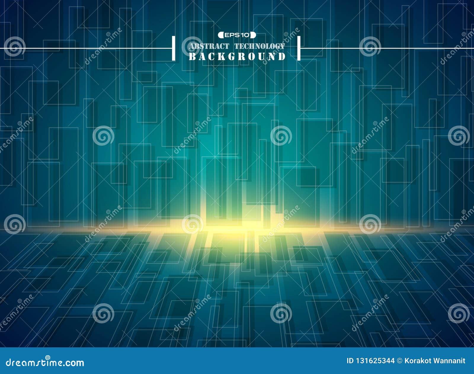 未来派高科技蓝色正方形几何样式背景摘要