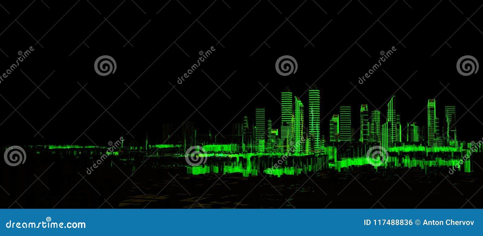 未来派3d城市霓虹灯