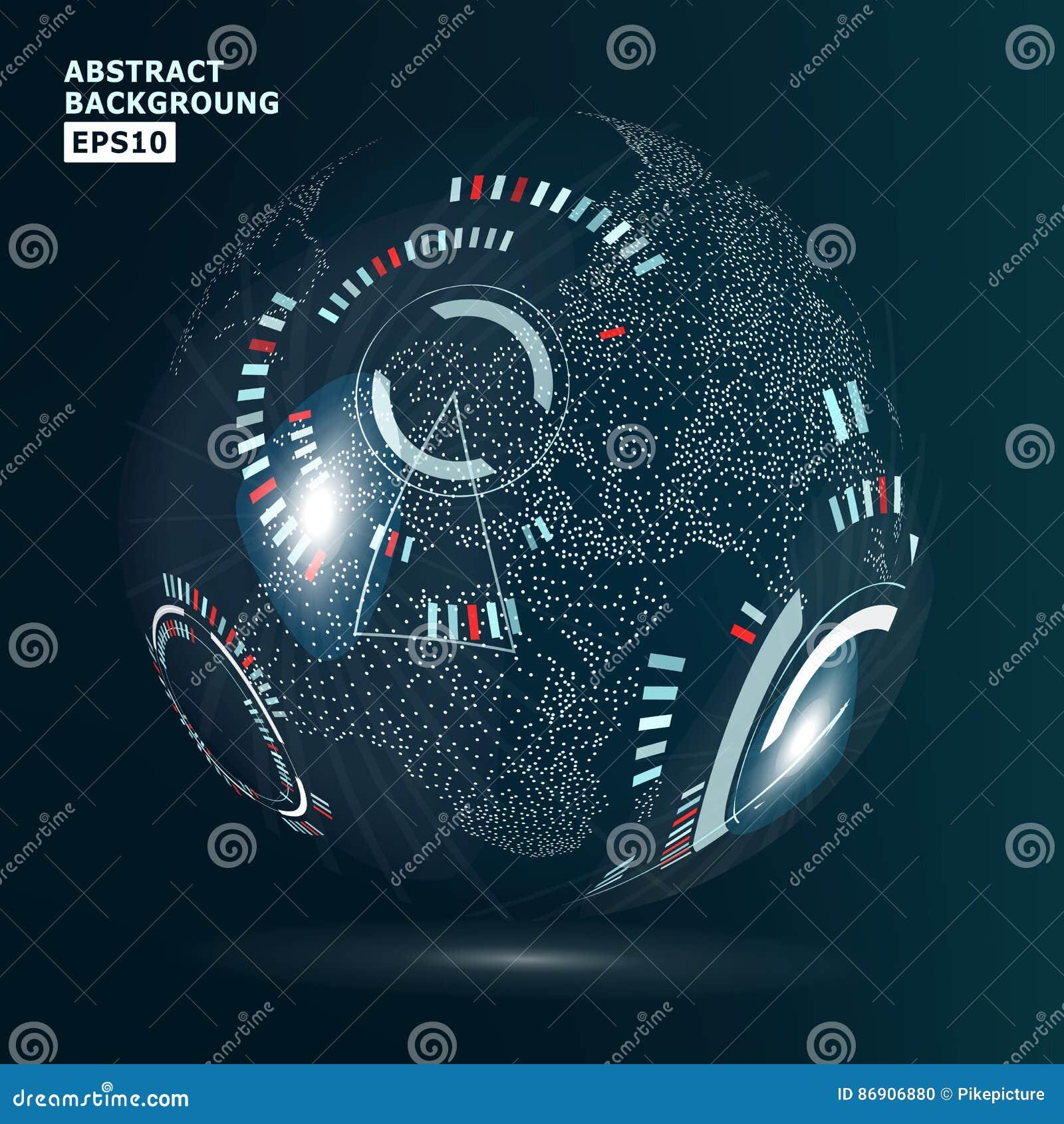 未来派全球化接口 现代地球概念 技术数字式地球世界