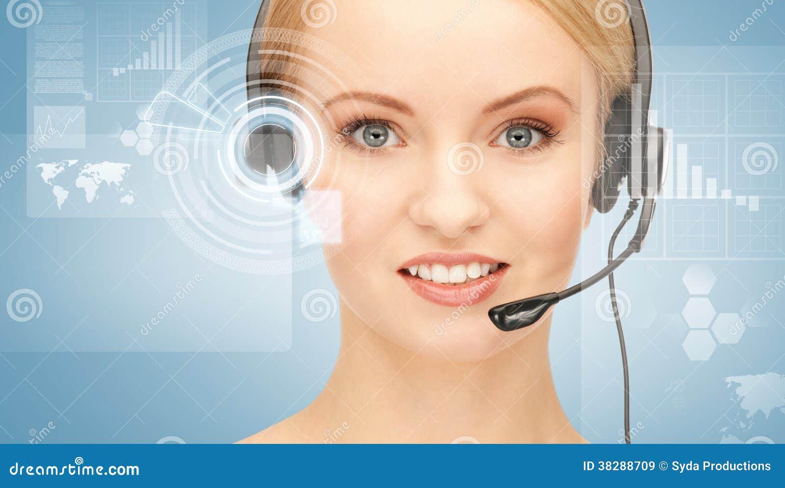 未来派女性热线服务电话操作员