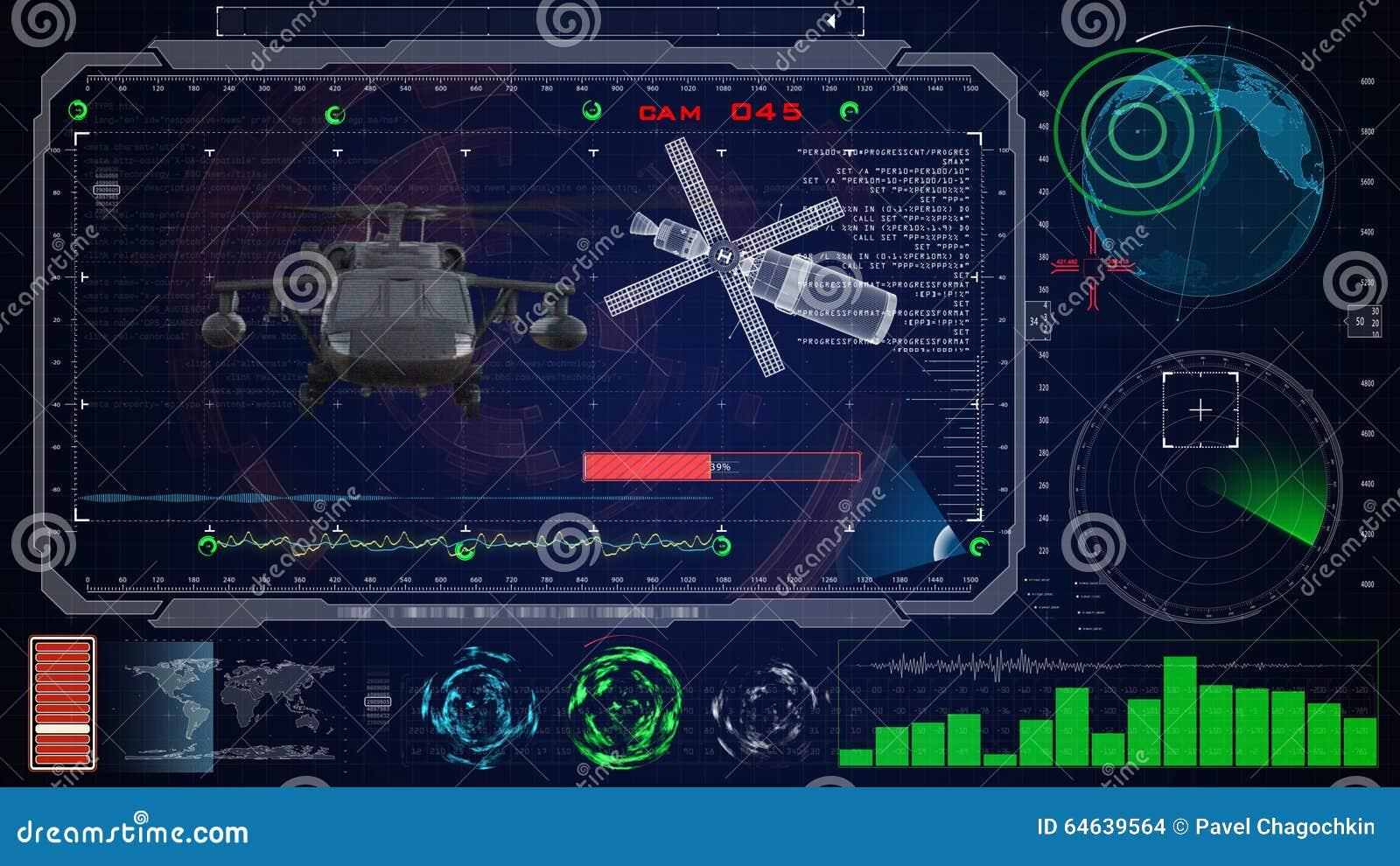 未来派蓝色真正图表接触用户界面HUD 军用军队直升机黑色鹰