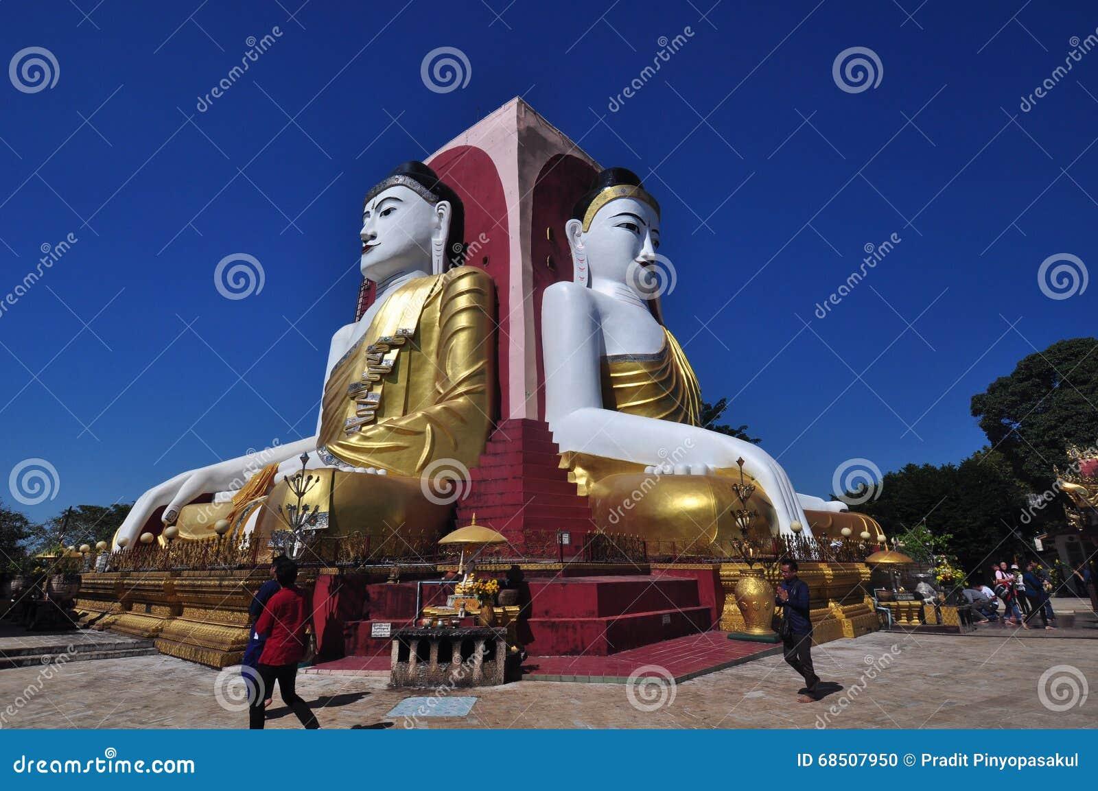 未知的游人在Bago,缅甸参观Kyaik双关语塔