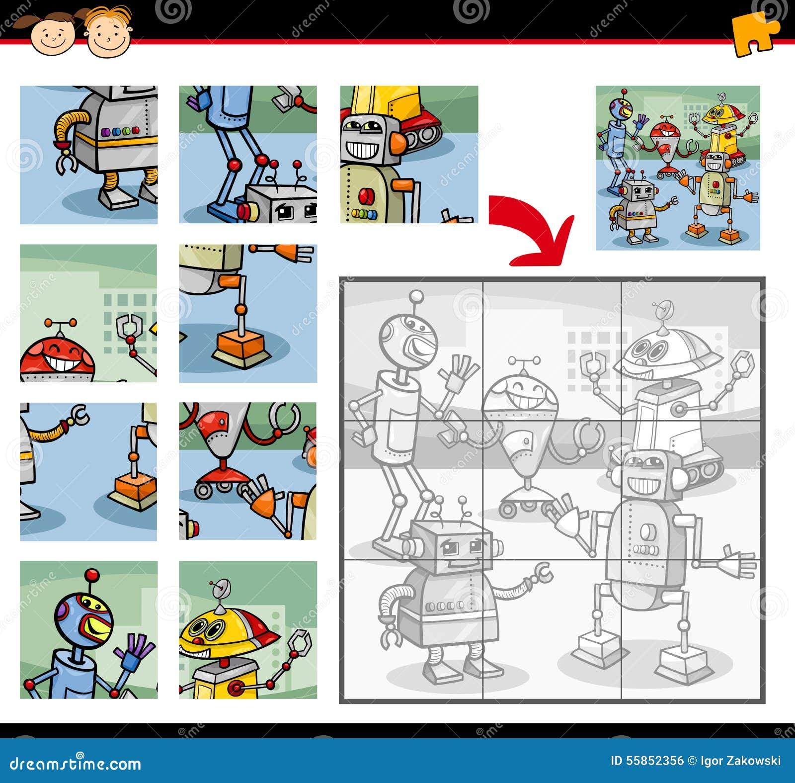 教育学龄前孩子的七巧板比赛的动画片例证有机器人字符小组的.