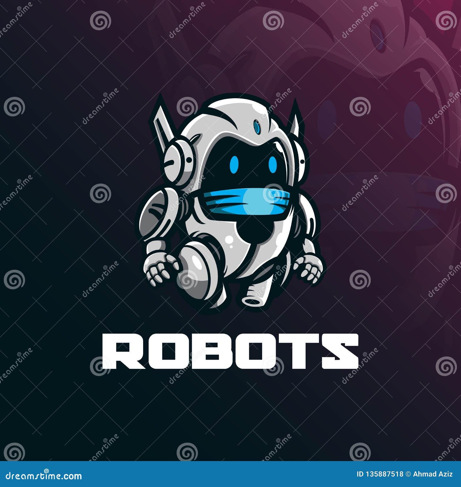 机器人吉祥人商标与现代例证概念样式的设计传染媒介徽章、象征和T恤杉打印的 滑稽的机器人