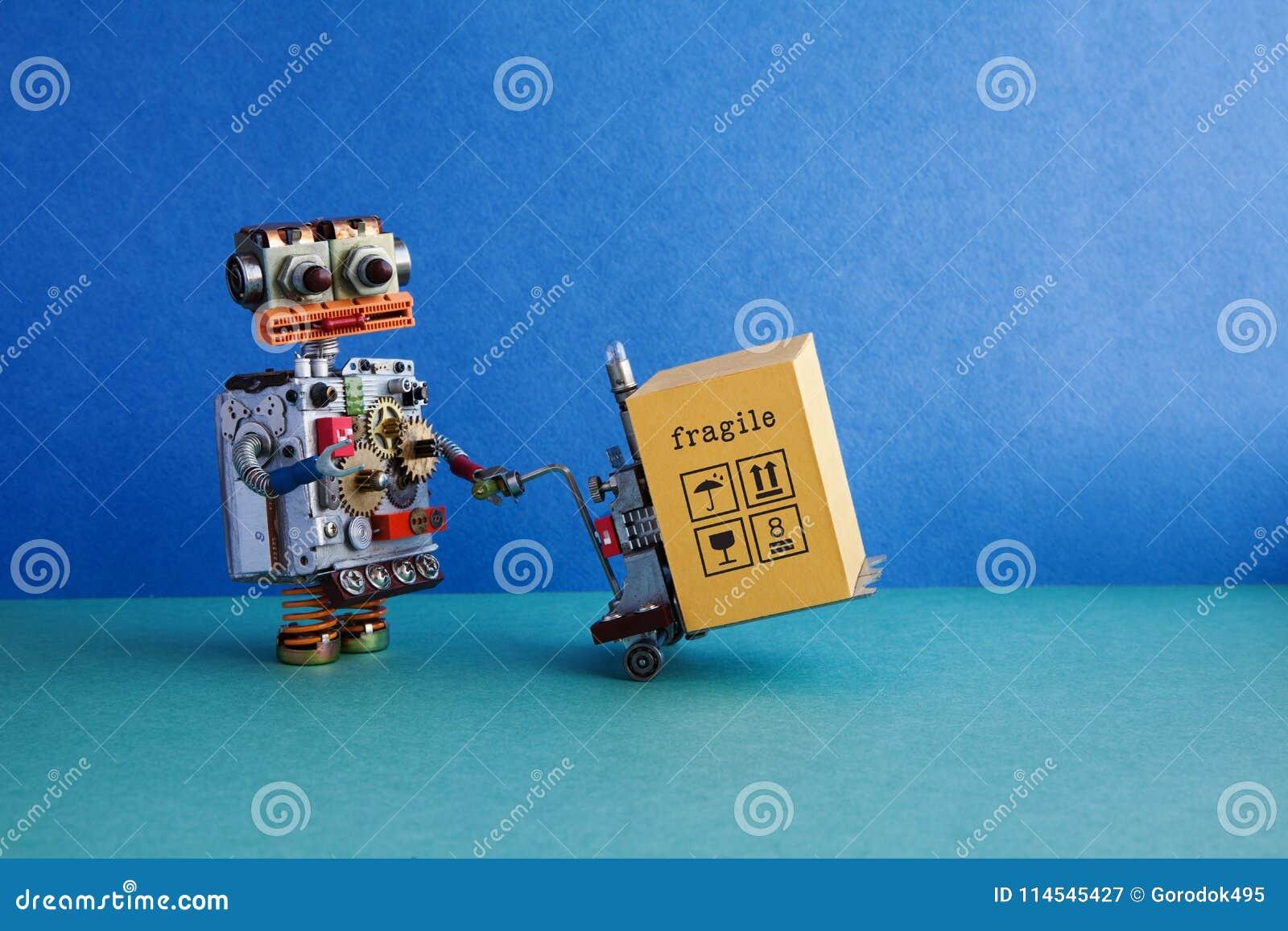 机器人后勤送货业务的自动化 友好的机器人玩具,供给动力的板台起重器,铲车被装载的推车机制