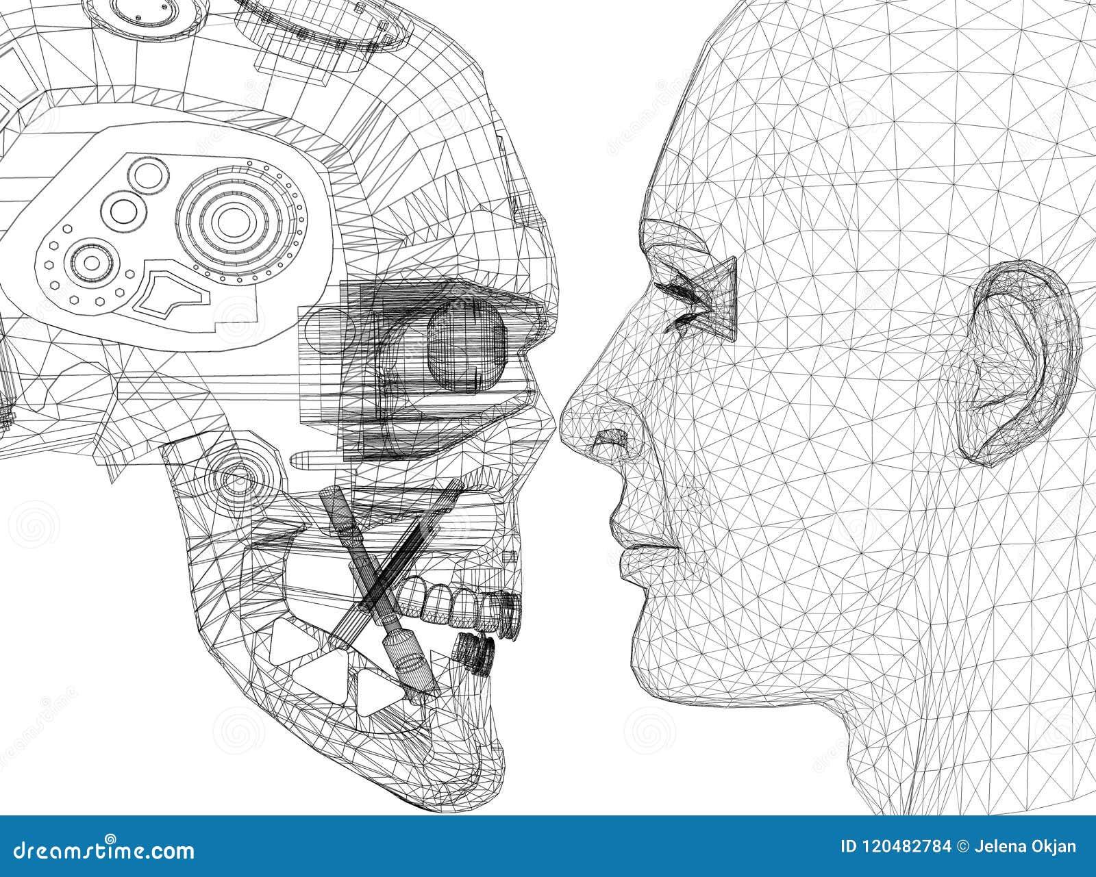 机器人和人头设计-建筑师图纸-隔绝