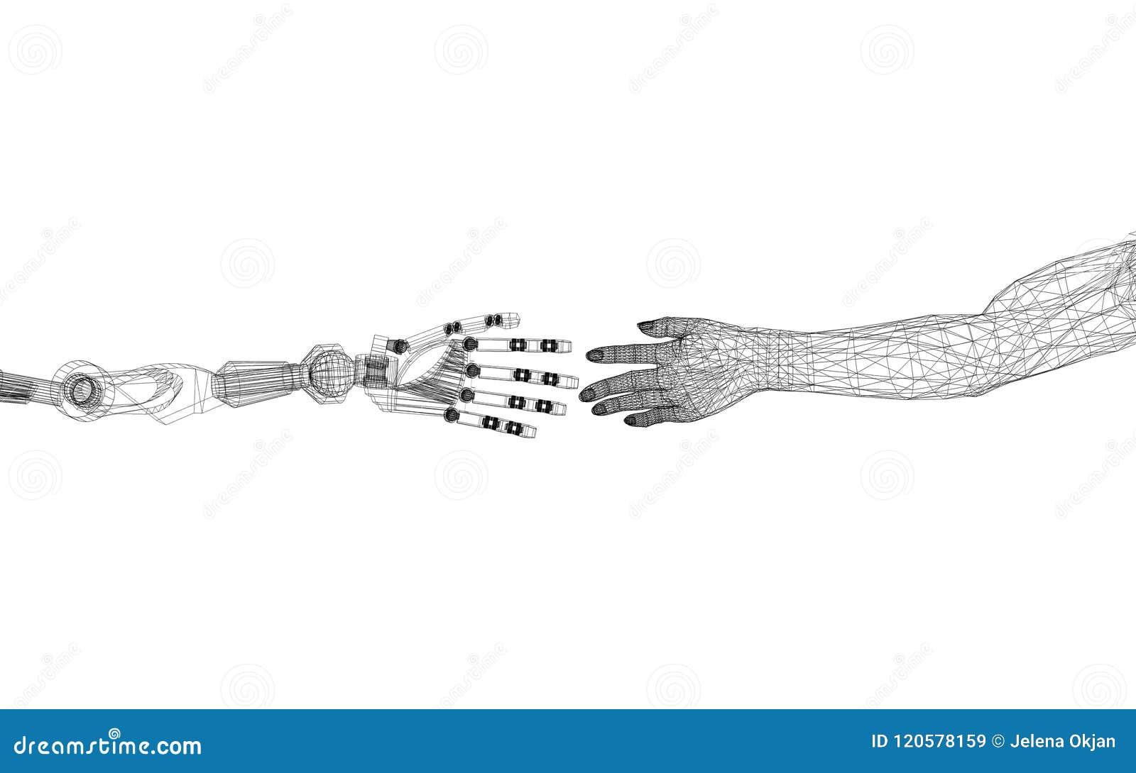 机器人和人武装概念-建筑师图纸-被隔绝
