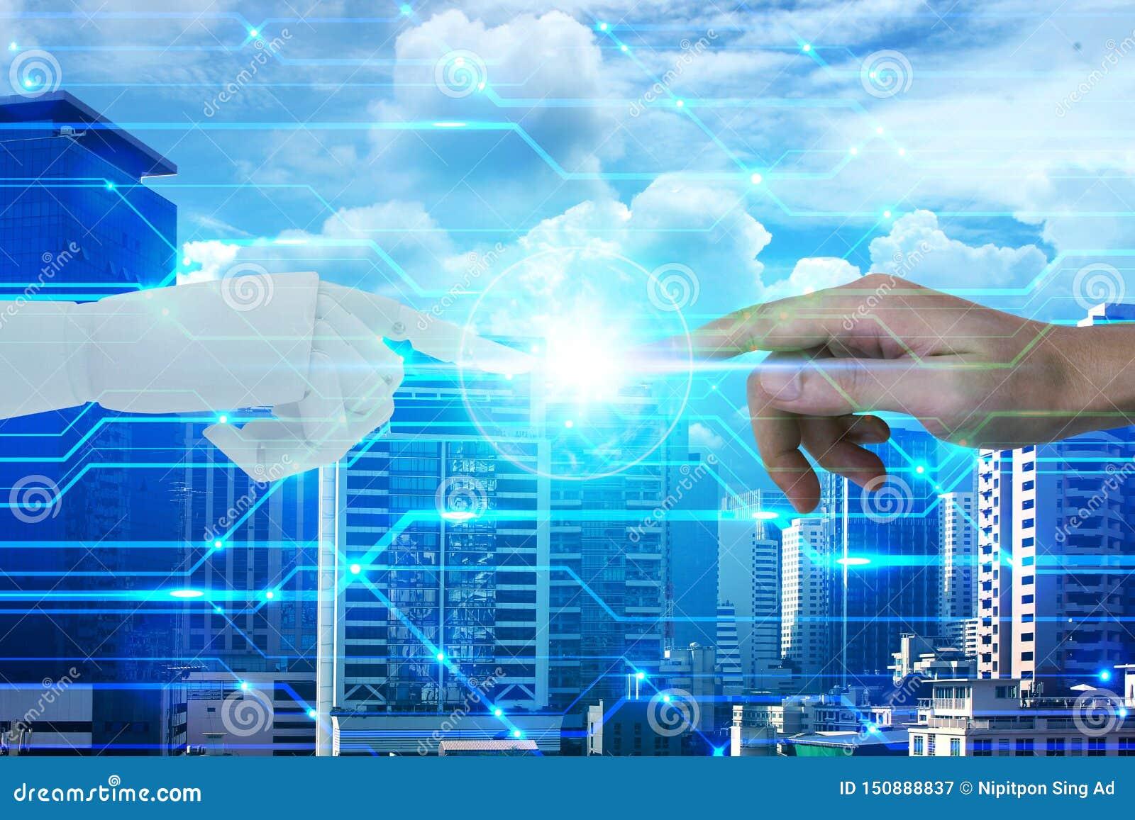 机器人和人的手有接触的在城市背景,人工智能和技术生态概念