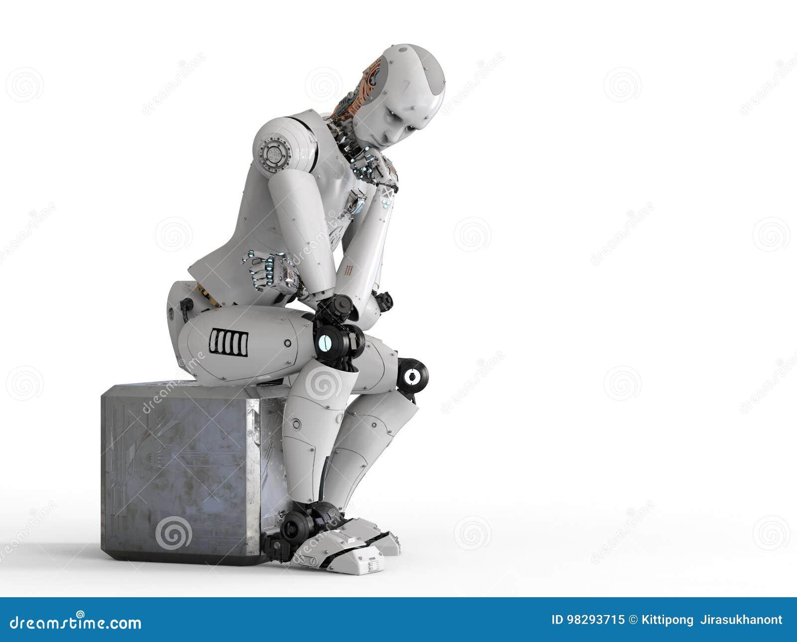 机器人坐下和认为
