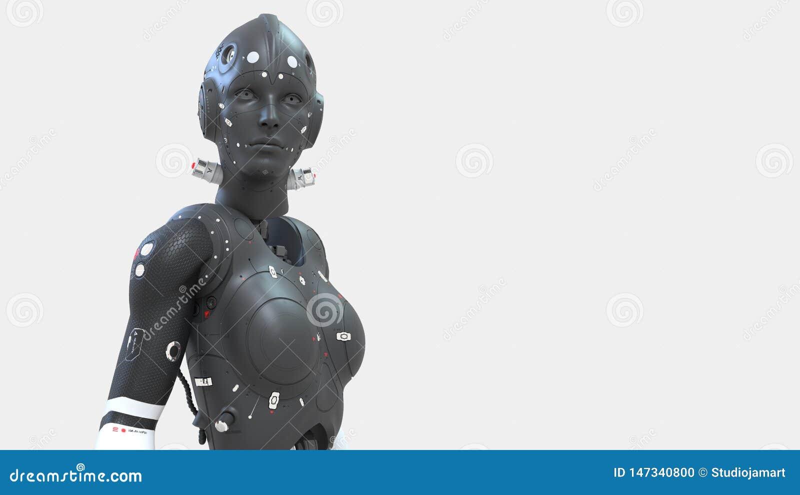 机器人妇女,未来的科学幻想小说妇女数字世界神经网络和人为