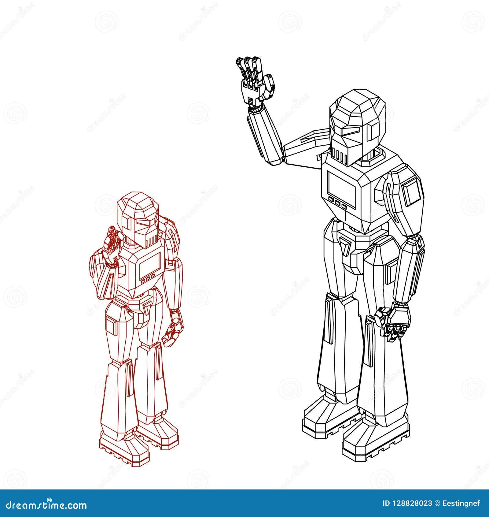 机器人字符问候 背景查出的白色 传染媒介o