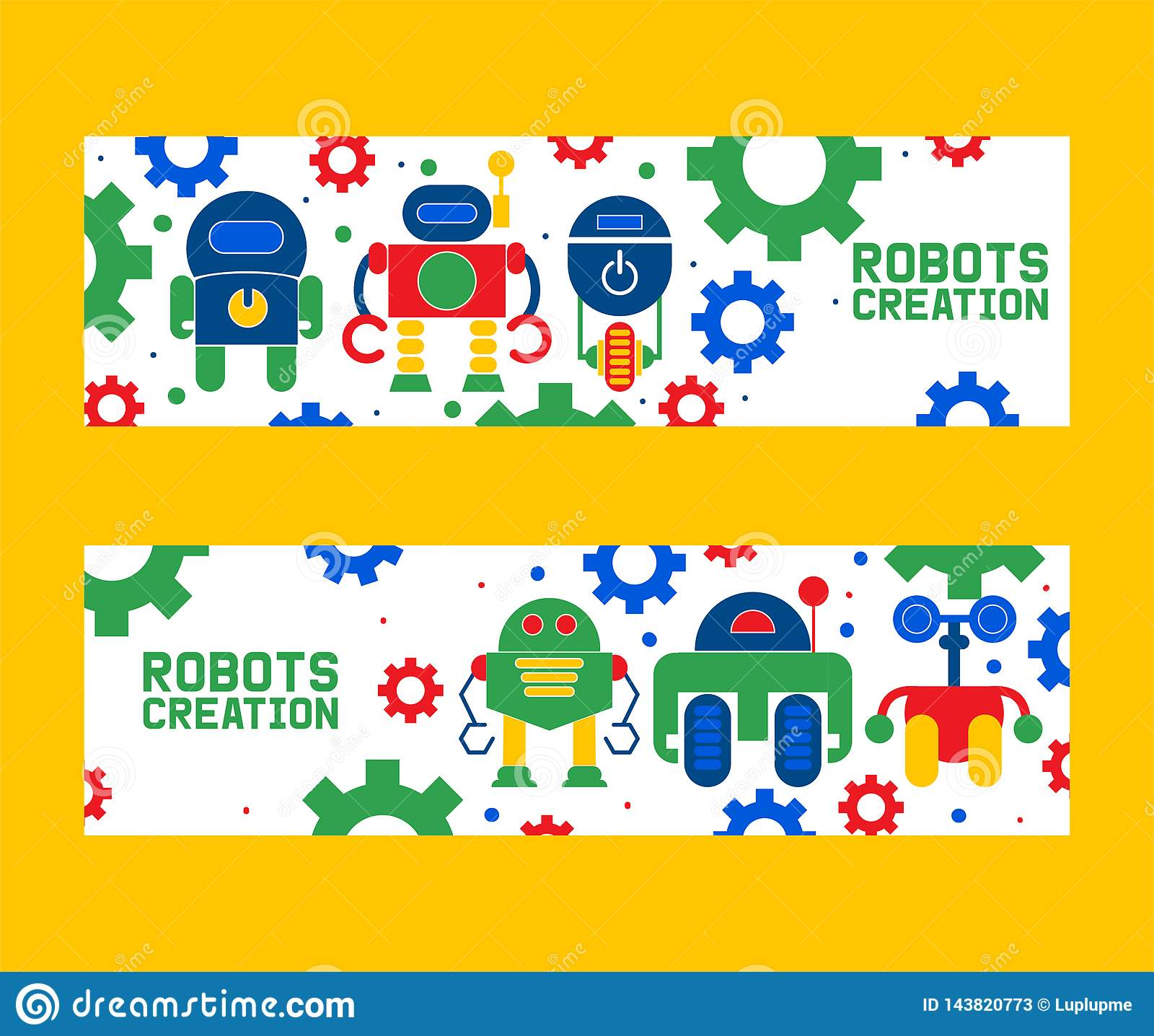 机器人学创作象套横幅传染媒介例证 ?? 未来派人工智能技术